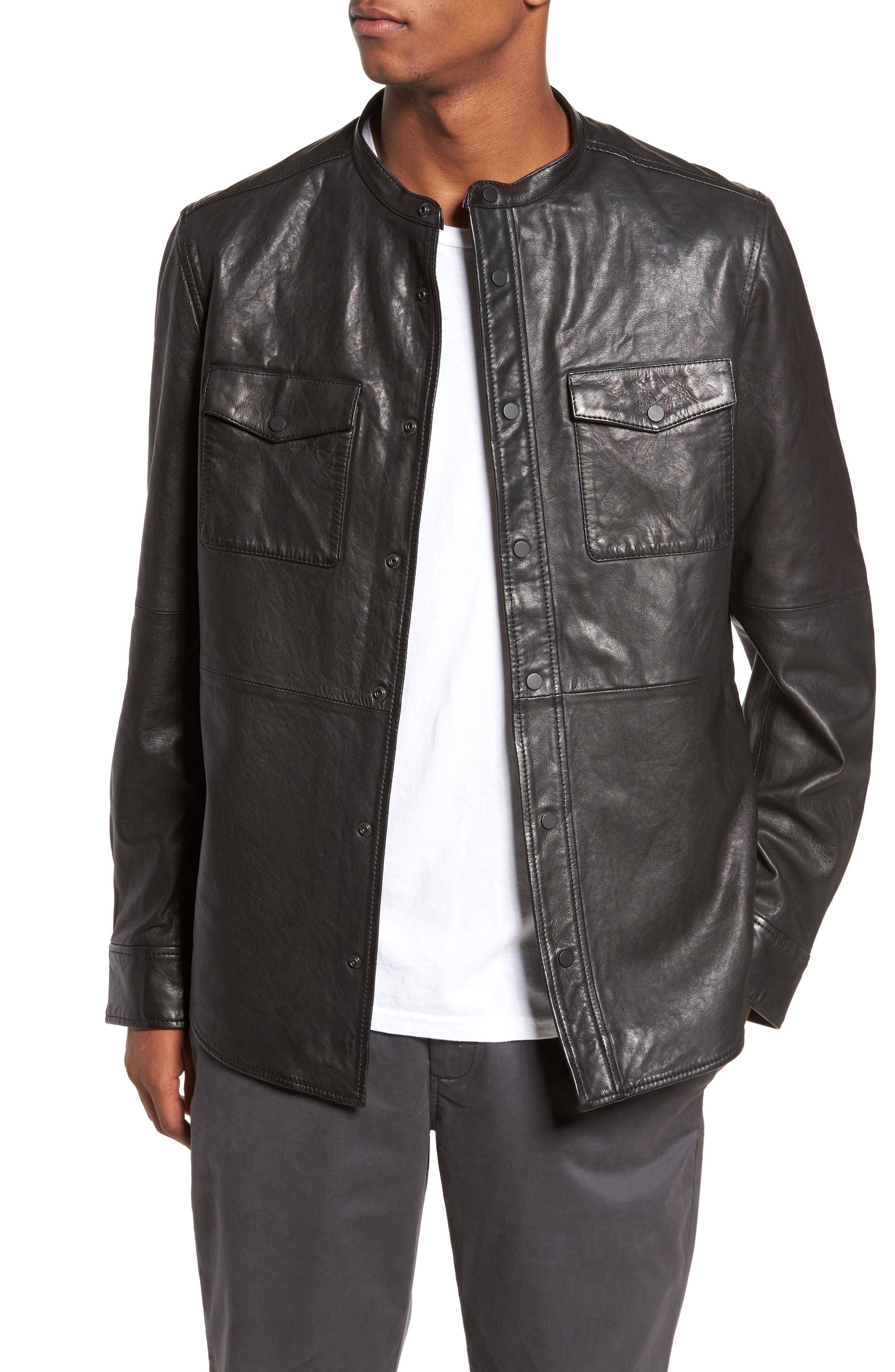 Atwater Leather Shirt Jacket,                             Main thumbnail 1, color,                             Black