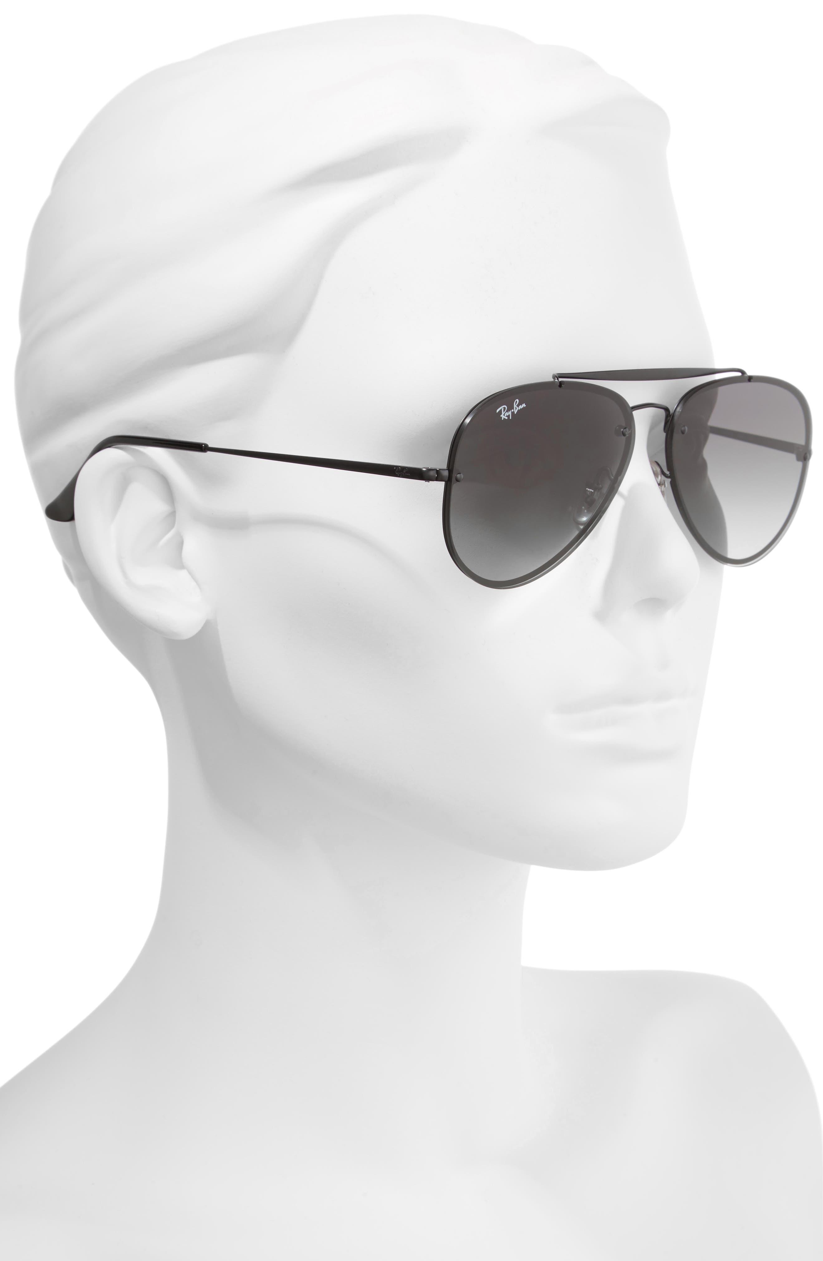 58mm Aviator Sunglasses,                             Alternate thumbnail 2, color,                             Shiny Black
