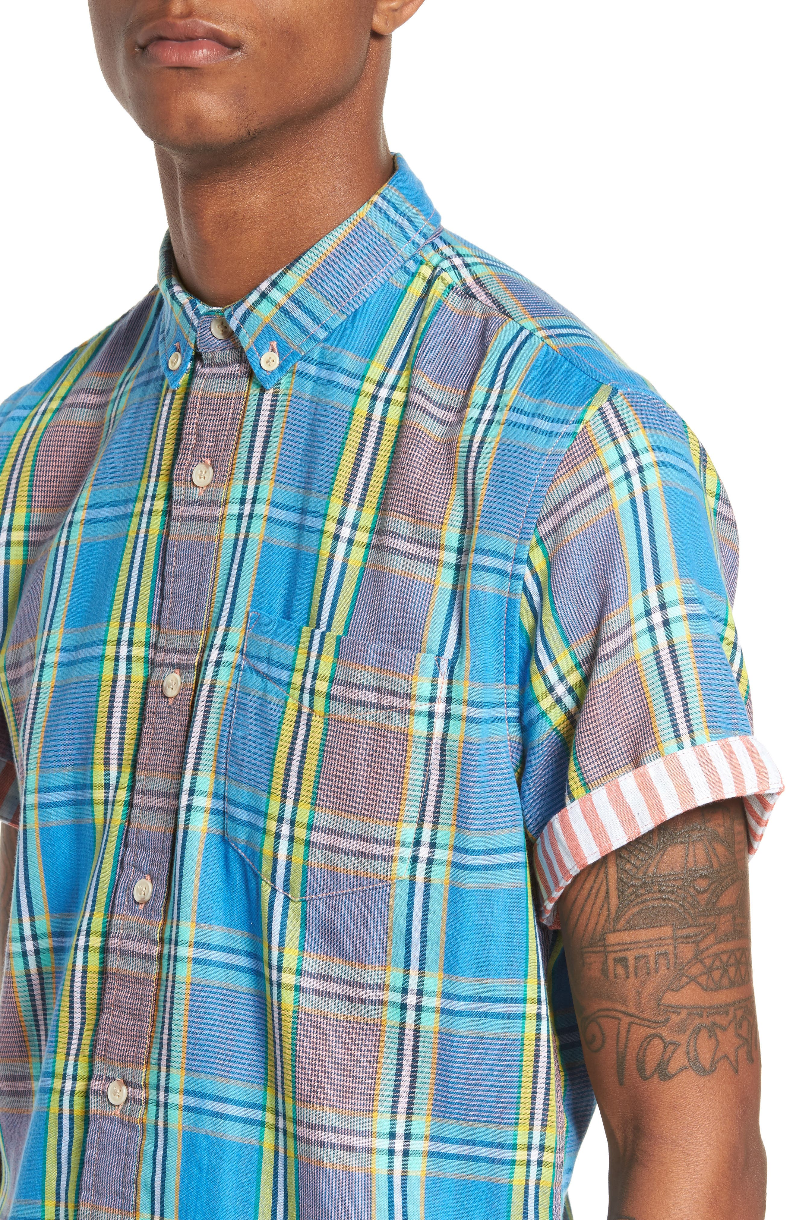 Short Sleeve Plaid Duofold Shirt,                             Alternate thumbnail 4, color,                             Blue Green Plaid Duo Fold