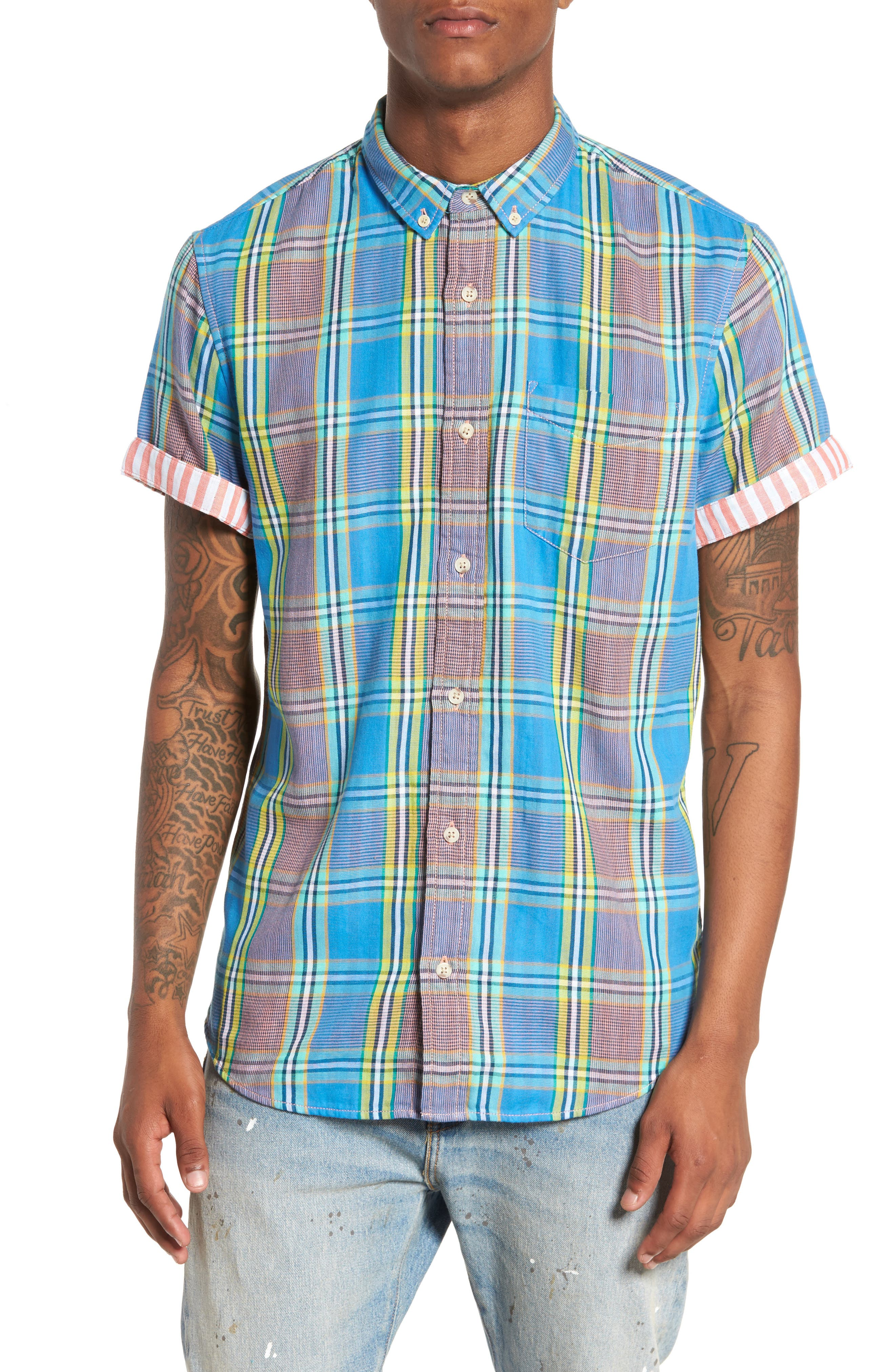 Short Sleeve Plaid Duofold Shirt,                         Main,                         color, Blue Green Plaid Duo Fold