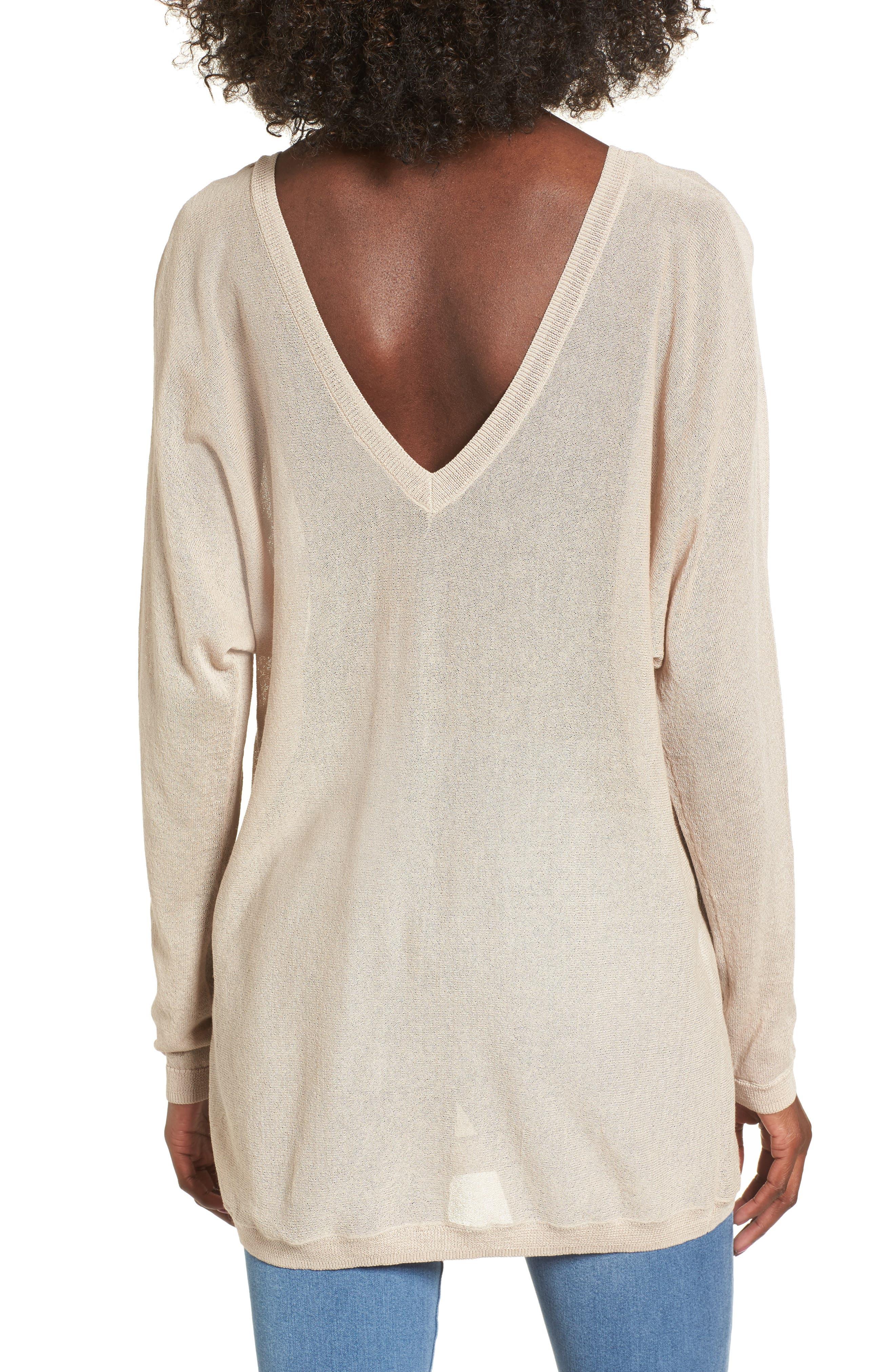 Double V-Neck Sweater,                             Alternate thumbnail 2, color,                             Beige Morn