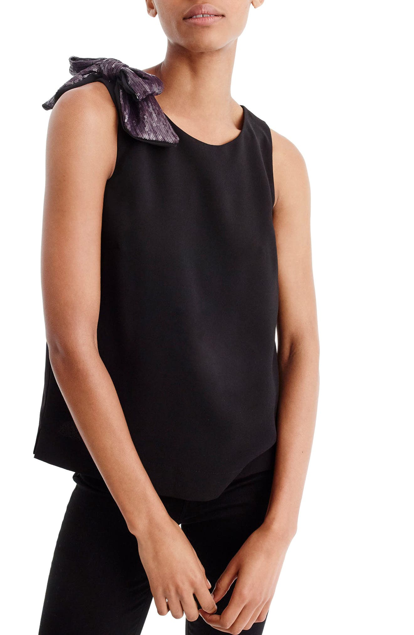 J.Crew Drapey Tank with Shoulder Bow,                         Main,                         color, Black