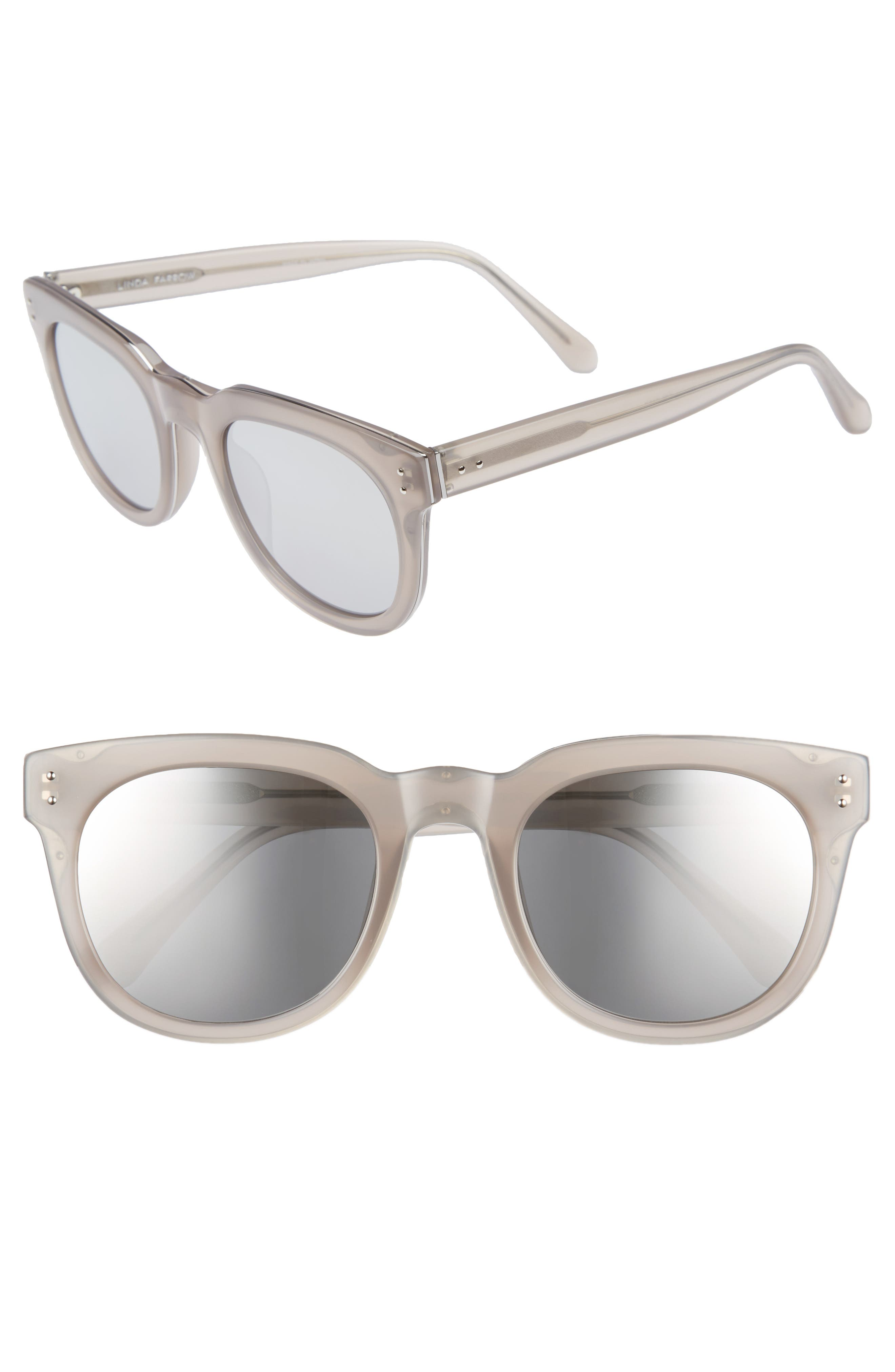 50mm D-Frame Mirrored Sunglasses,                         Main,                         color, Milky Grey/ White Gold