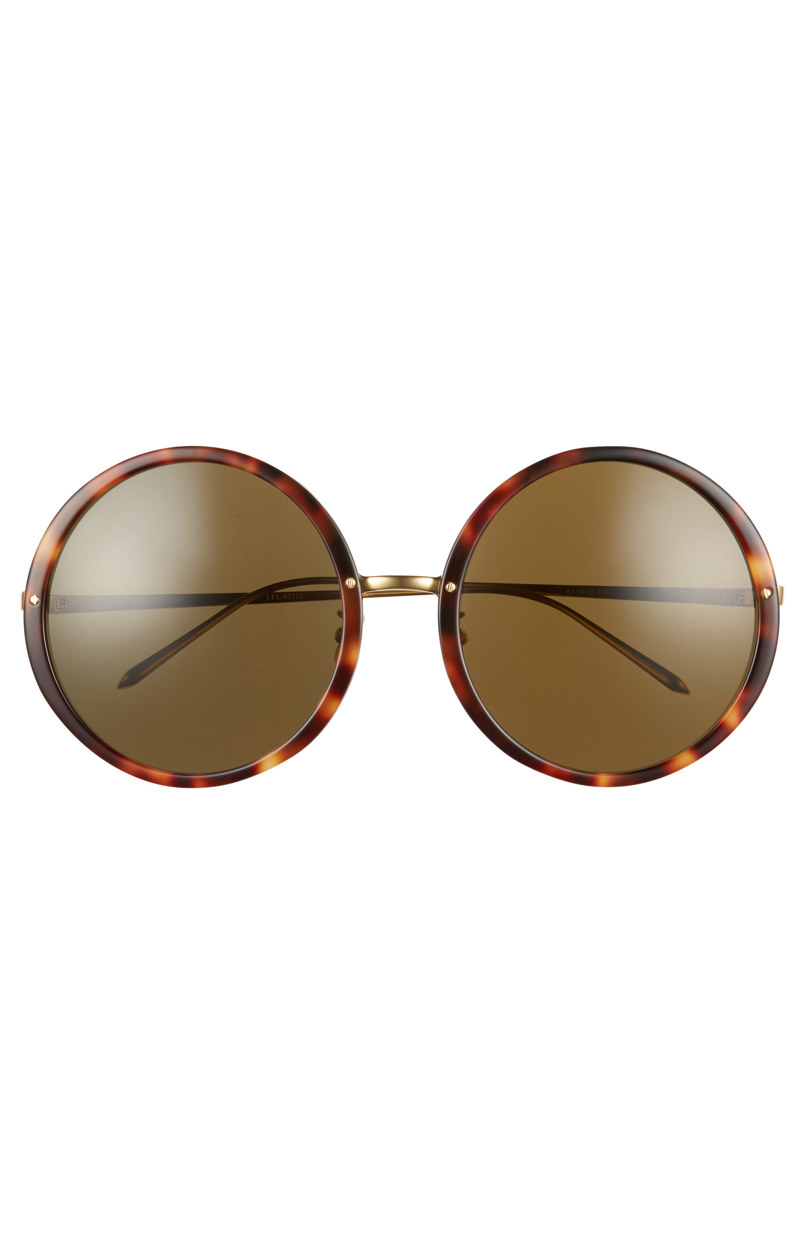 61mm Round 18 Karat Gold Trim Sunglasses,                             Alternate thumbnail 3, color,                             Tortoise/ Yellow Gold/ Brown