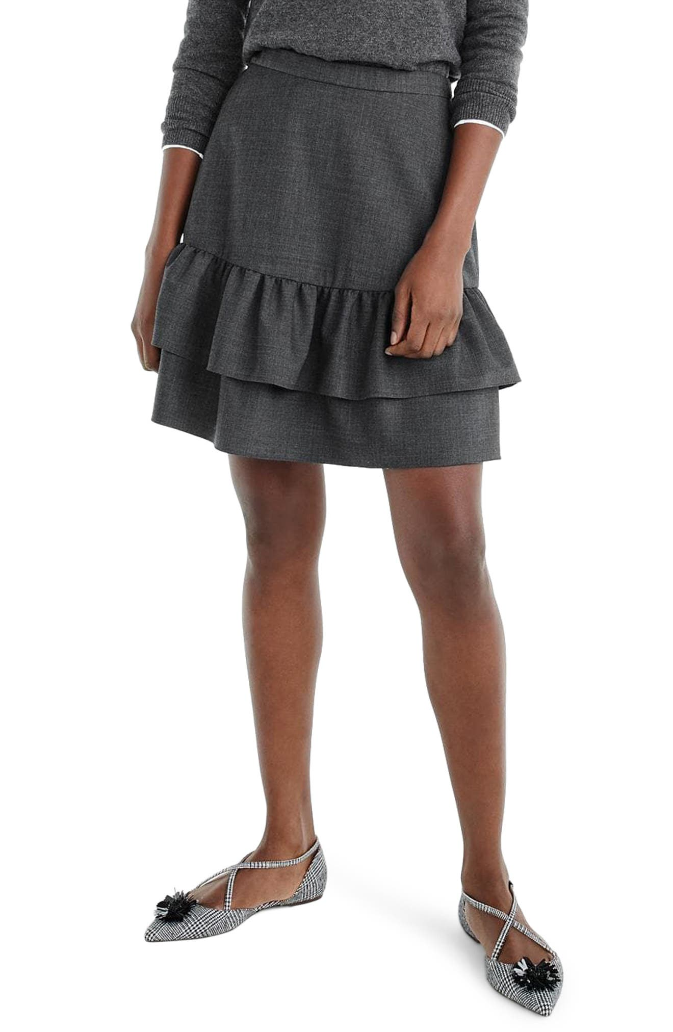 Wool Flannel Ruffle Skirt,                         Main,                         color, Heather Carbon