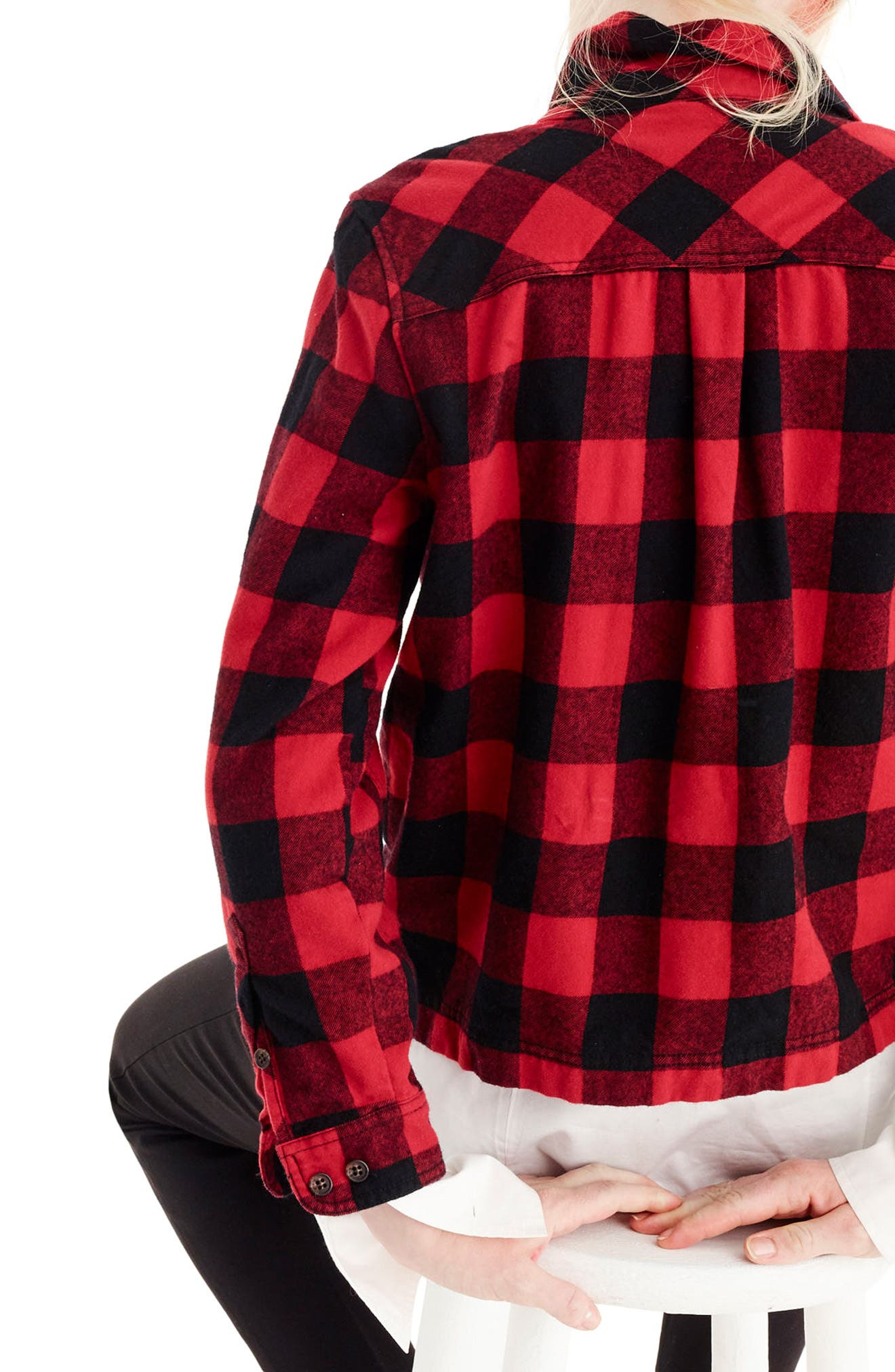 Buffalo Check Shirt Jacket,                             Alternate thumbnail 3, color,                             Red/ Black
