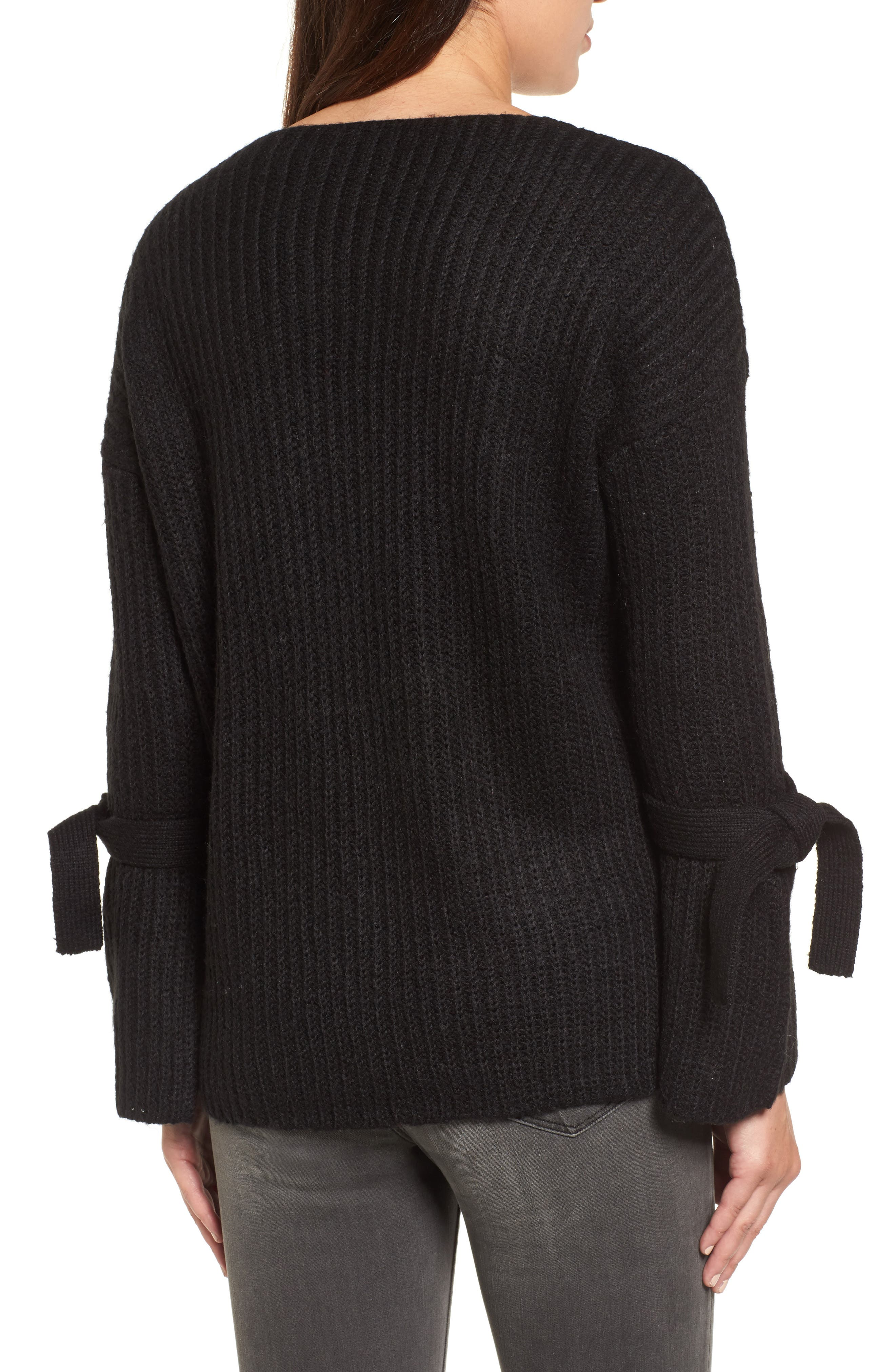 Tie Sleeve Sweater,                             Alternate thumbnail 2, color,                             Black