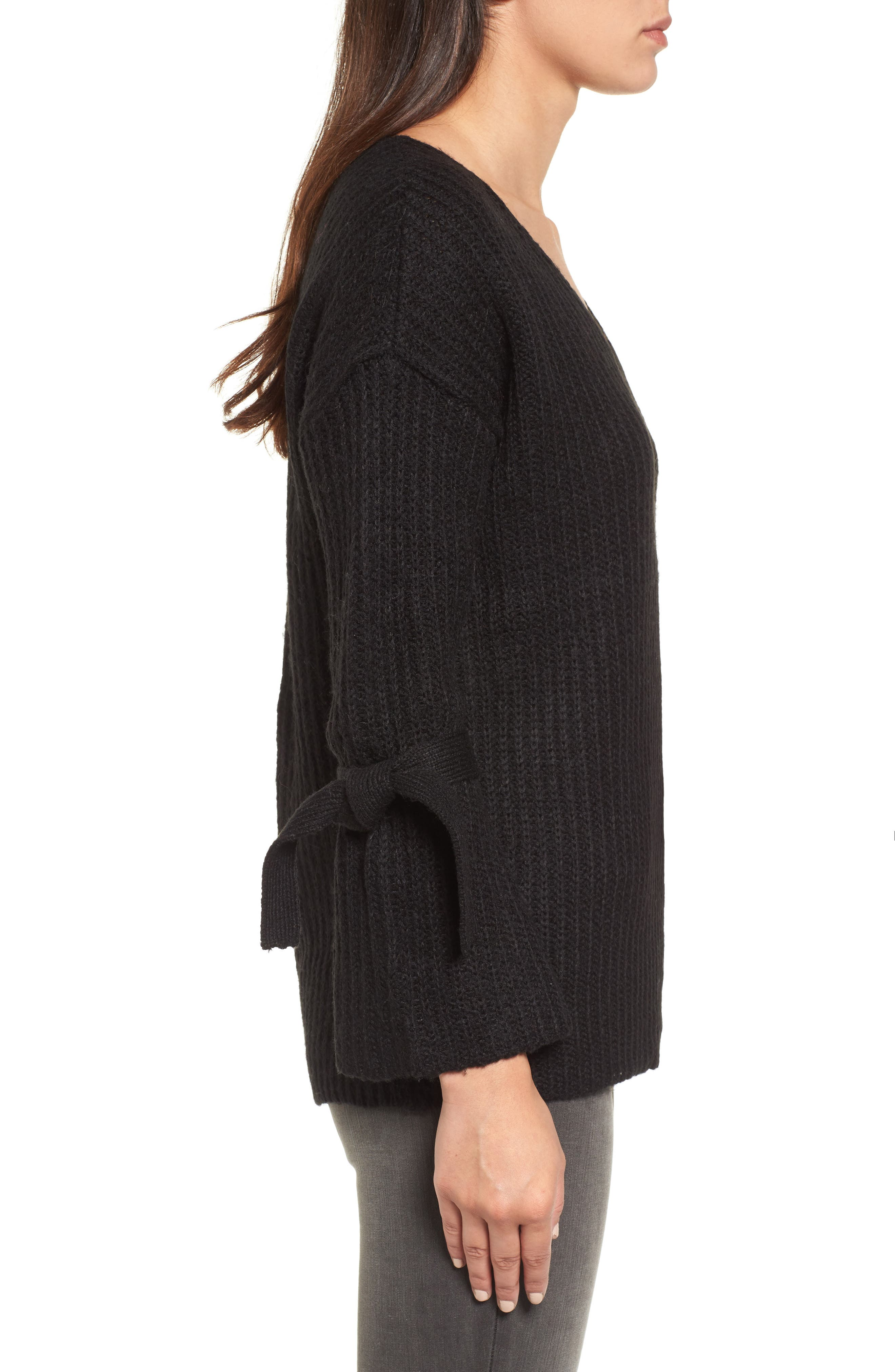 Tie Sleeve Sweater,                             Alternate thumbnail 3, color,                             Black