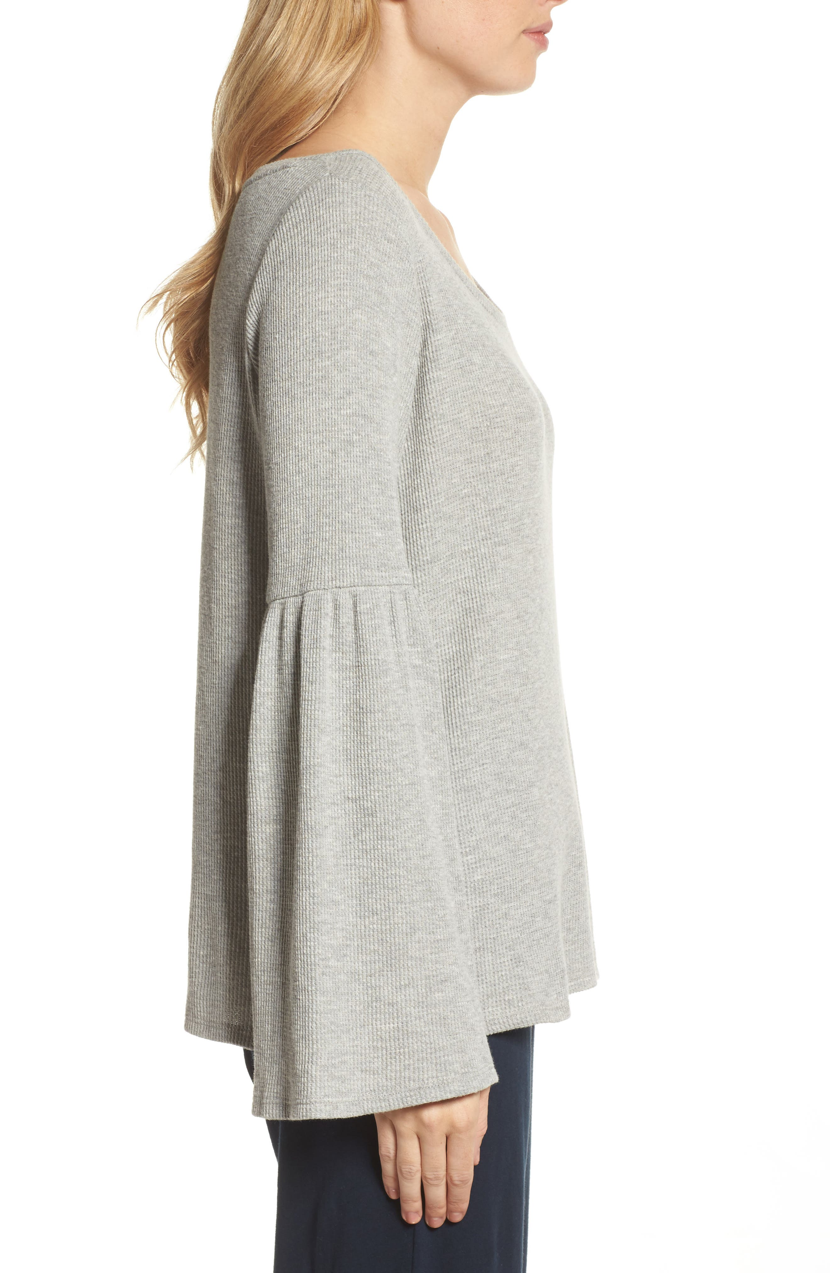 Imo Thermal Knit Tee,                             Alternate thumbnail 3, color,                             Heather Grey