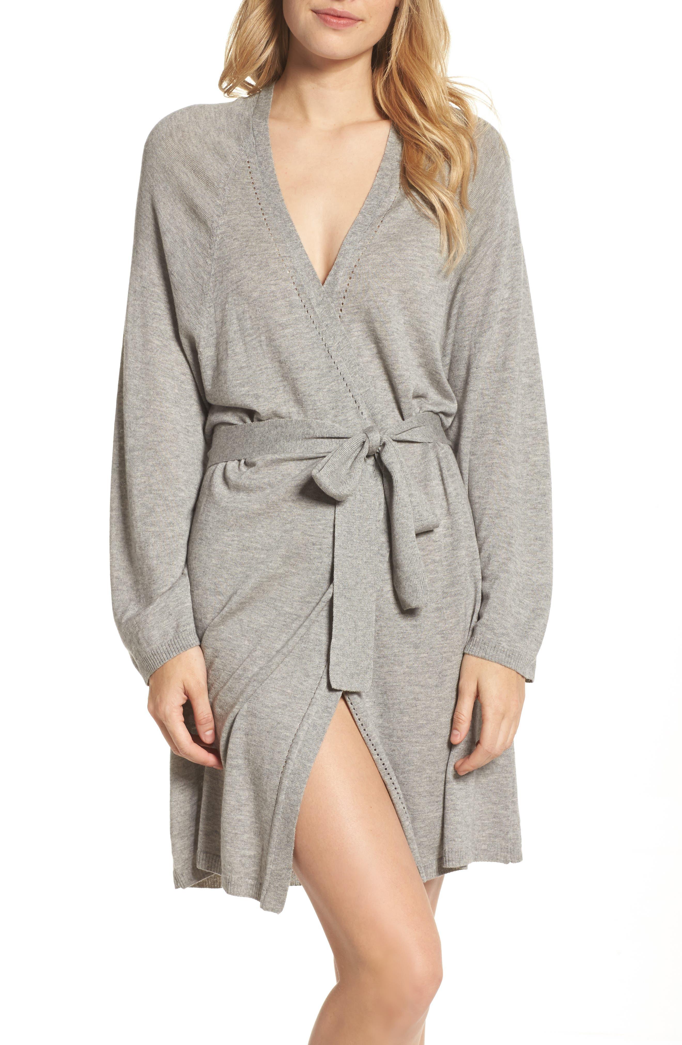 Mina Short Robe,                         Main,                         color, Heather Grey