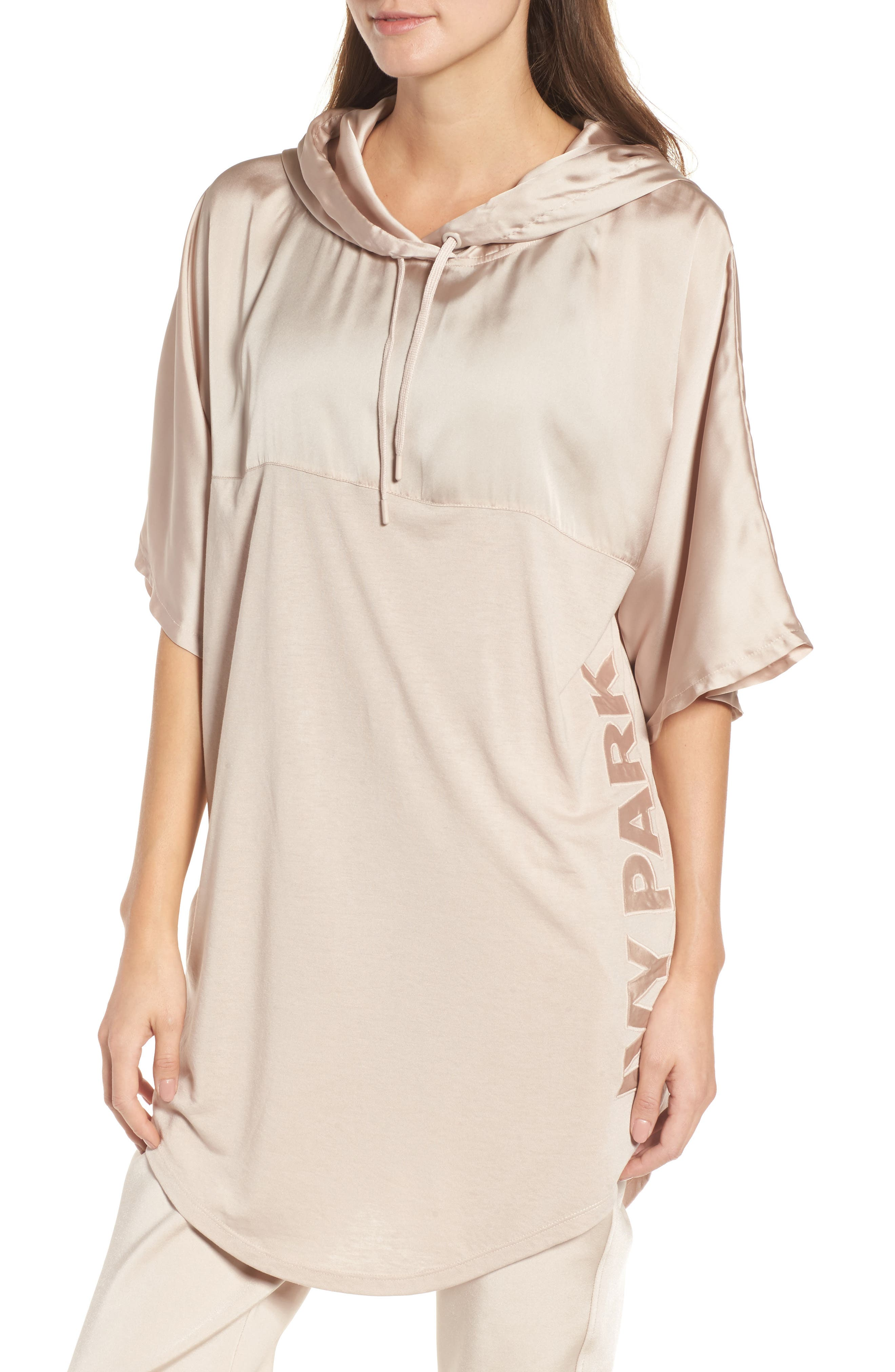 Satin Hooded Tee,                         Main,                         color, Taupe