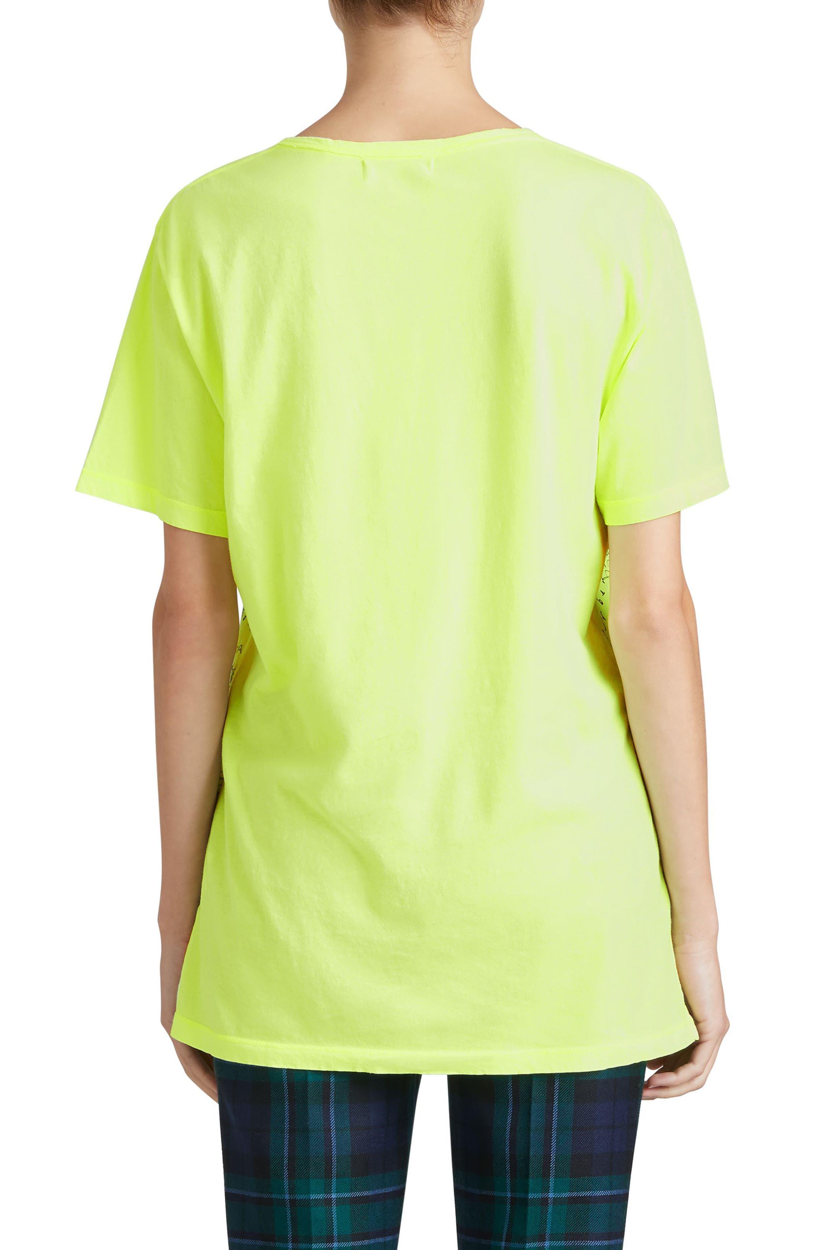 Rydon Print Cotton Tee,                             Alternate thumbnail 2, color,                             Fluorescent Yellow