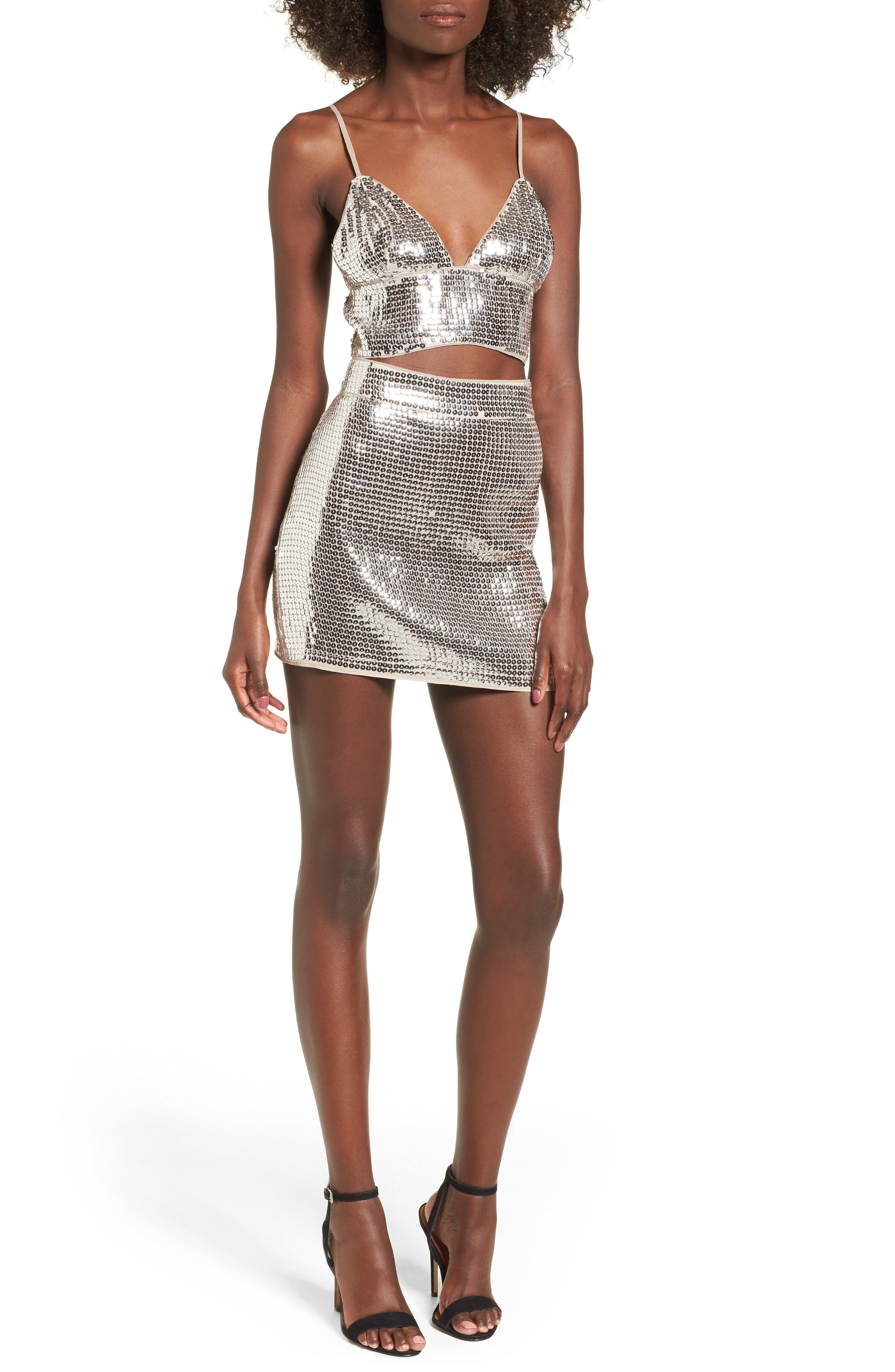 Always This Late Skirt,                             Alternate thumbnail 2, color,                             Silver/ Nude