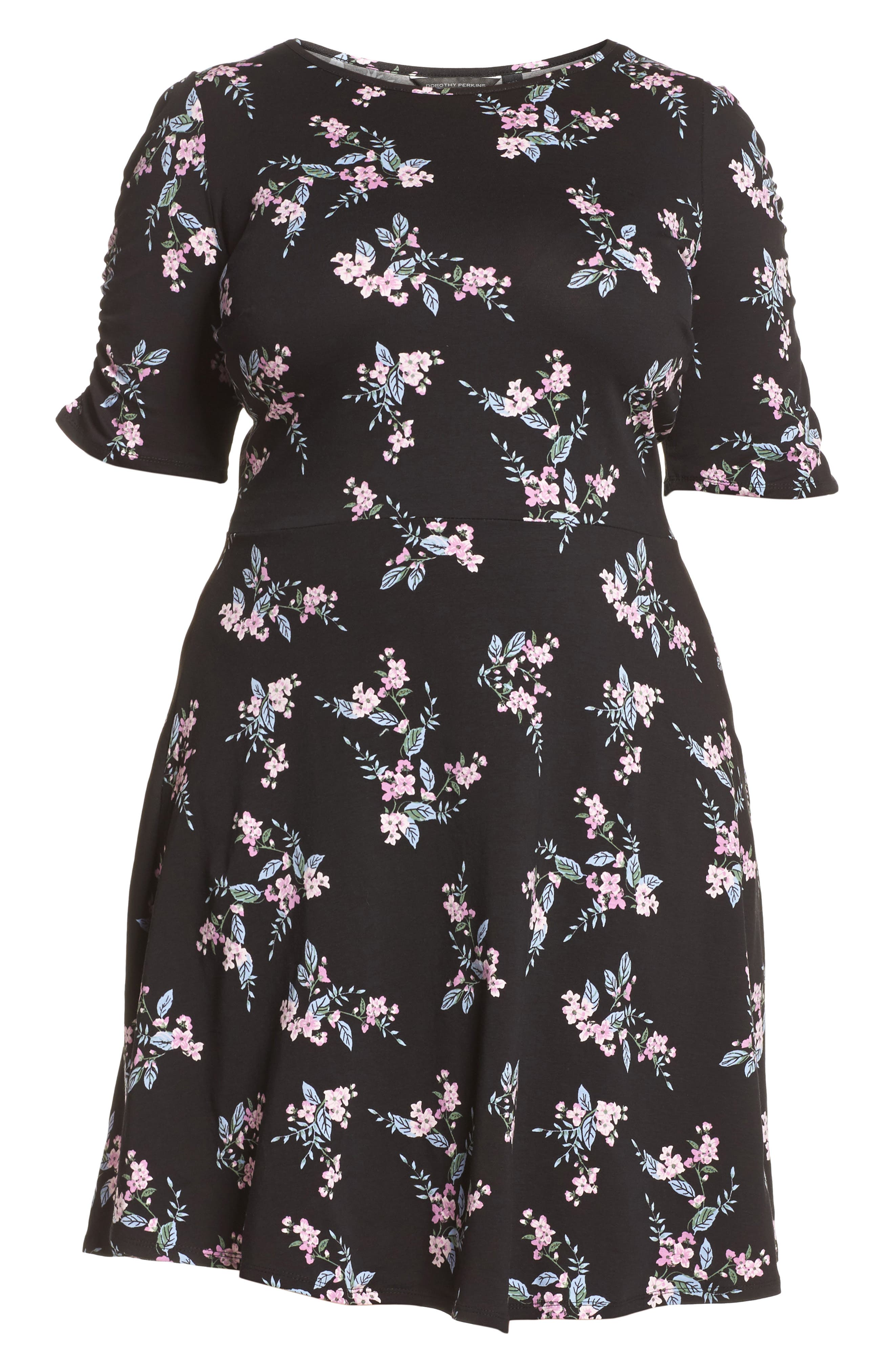 Floral Print Fit & Flare Dress,                             Alternate thumbnail 6, color,                             Black