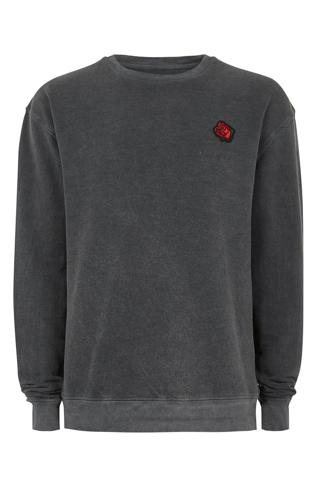 Percy Rose Embroidered Sweatshirt,                             Alternate thumbnail 4, color,                             Grey