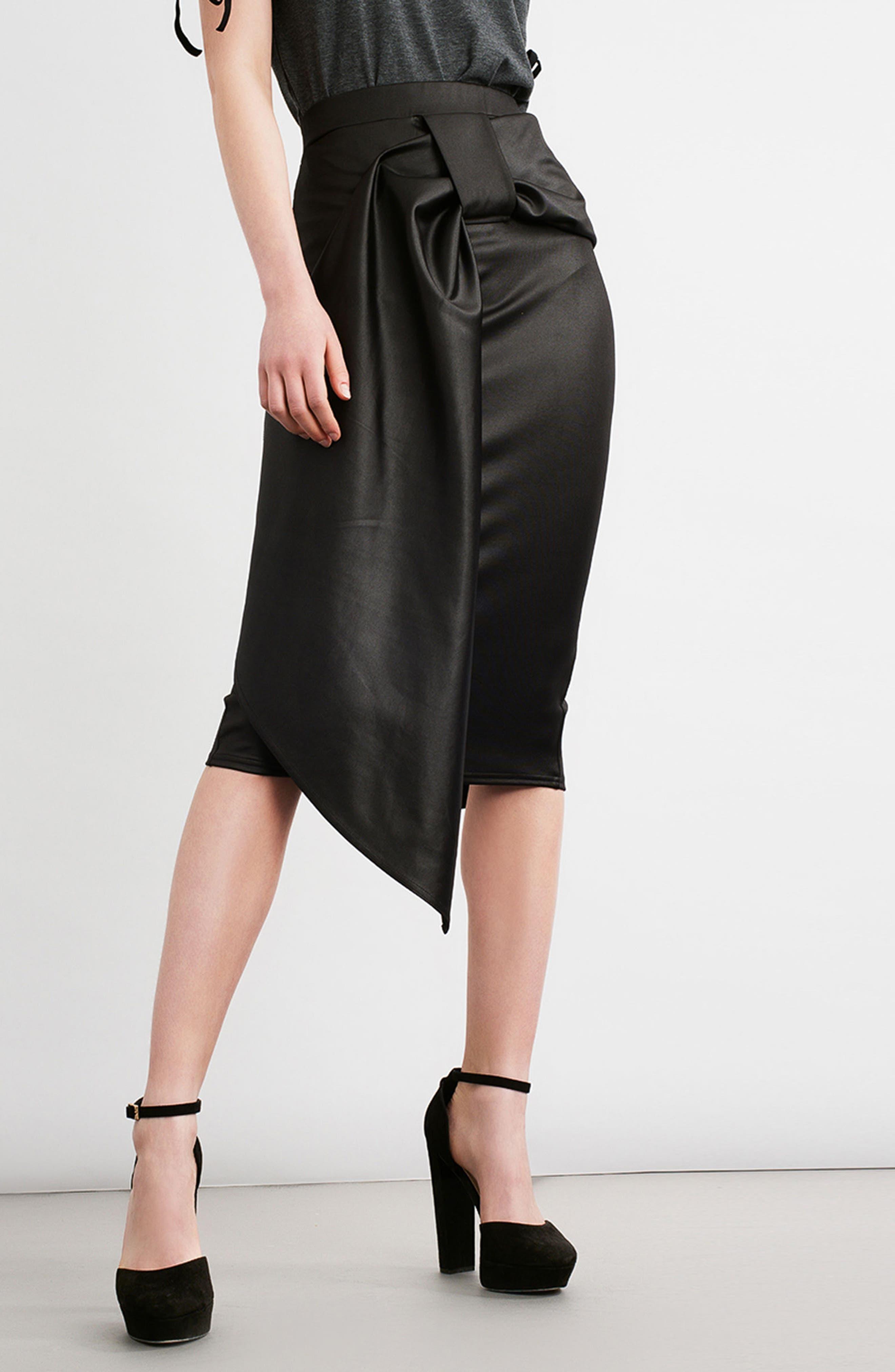Alternate Image 2  - LOST INK Coated Cocktail Skirt