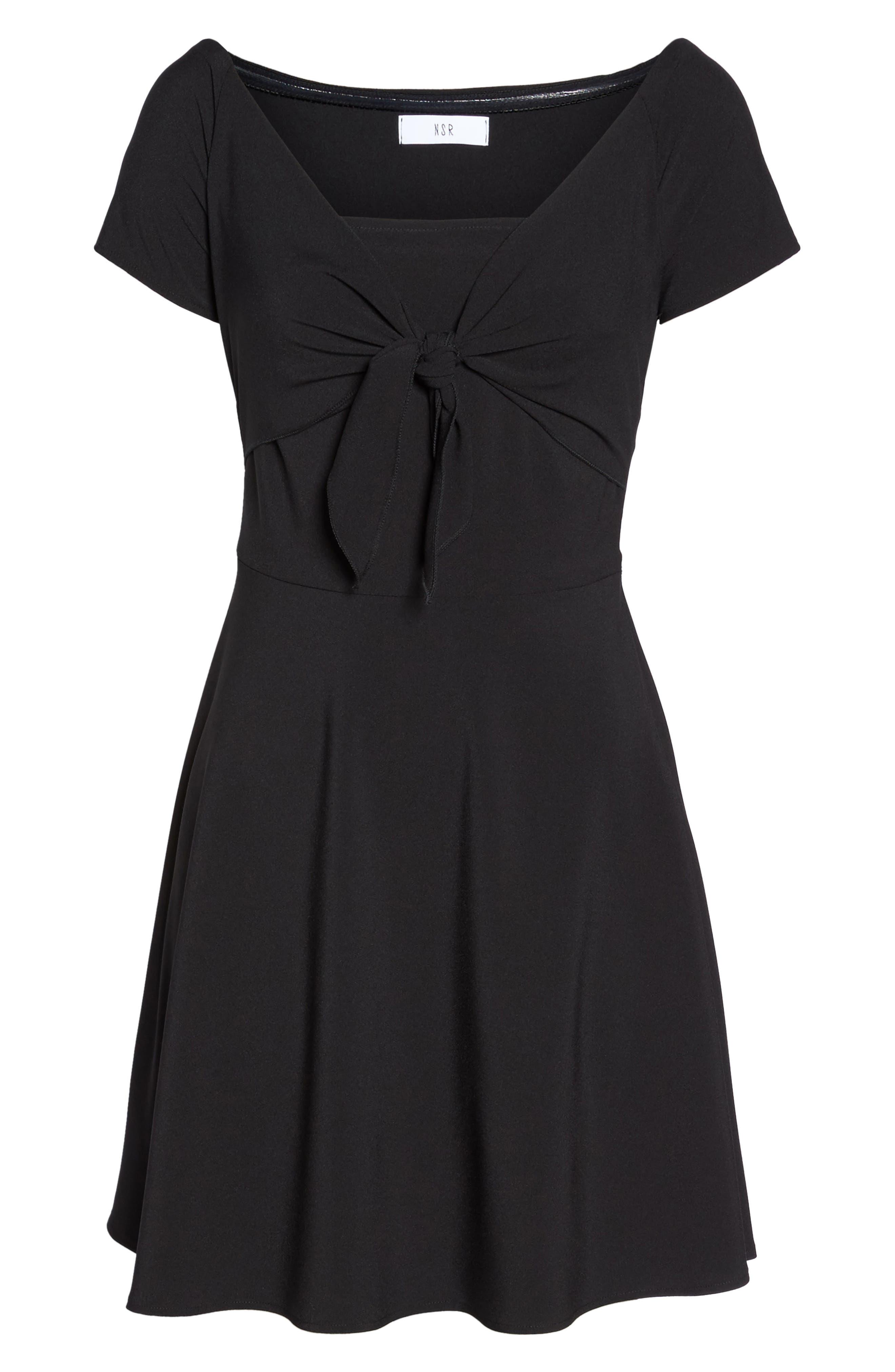 Tie Front Crepe Fit & Flare Dress,                             Alternate thumbnail 6, color,                             Black