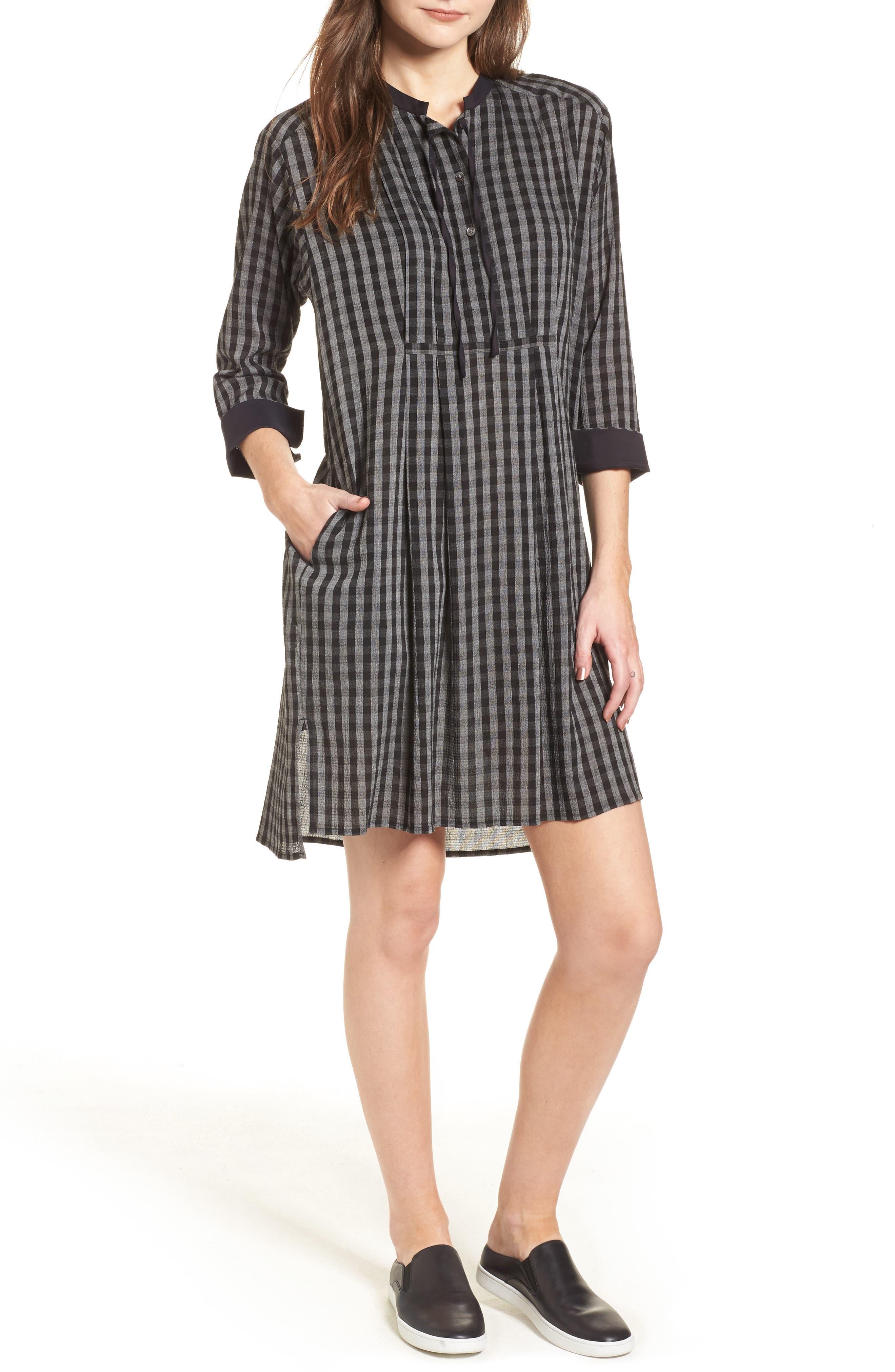 Check Shirtdress,                         Main,                         color, Grey/ Black