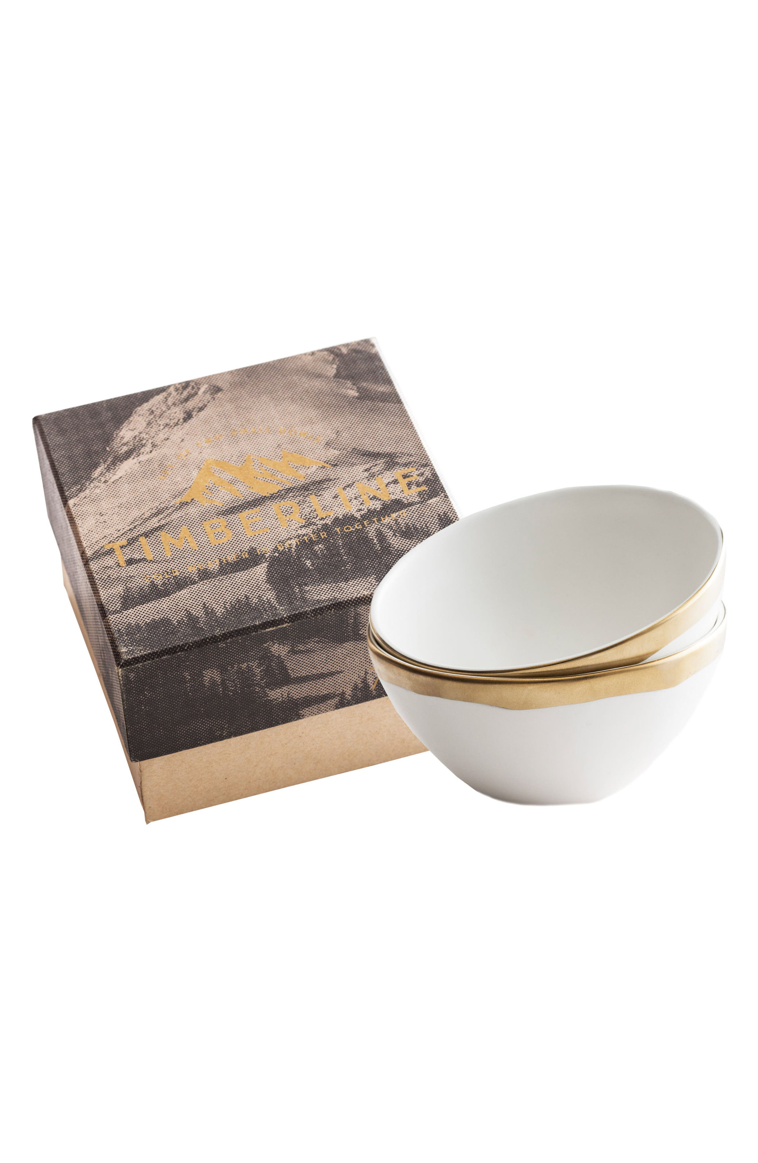 Timberline Set of 2 Porcelain Bowls,                         Main,                         color, White/ Gold