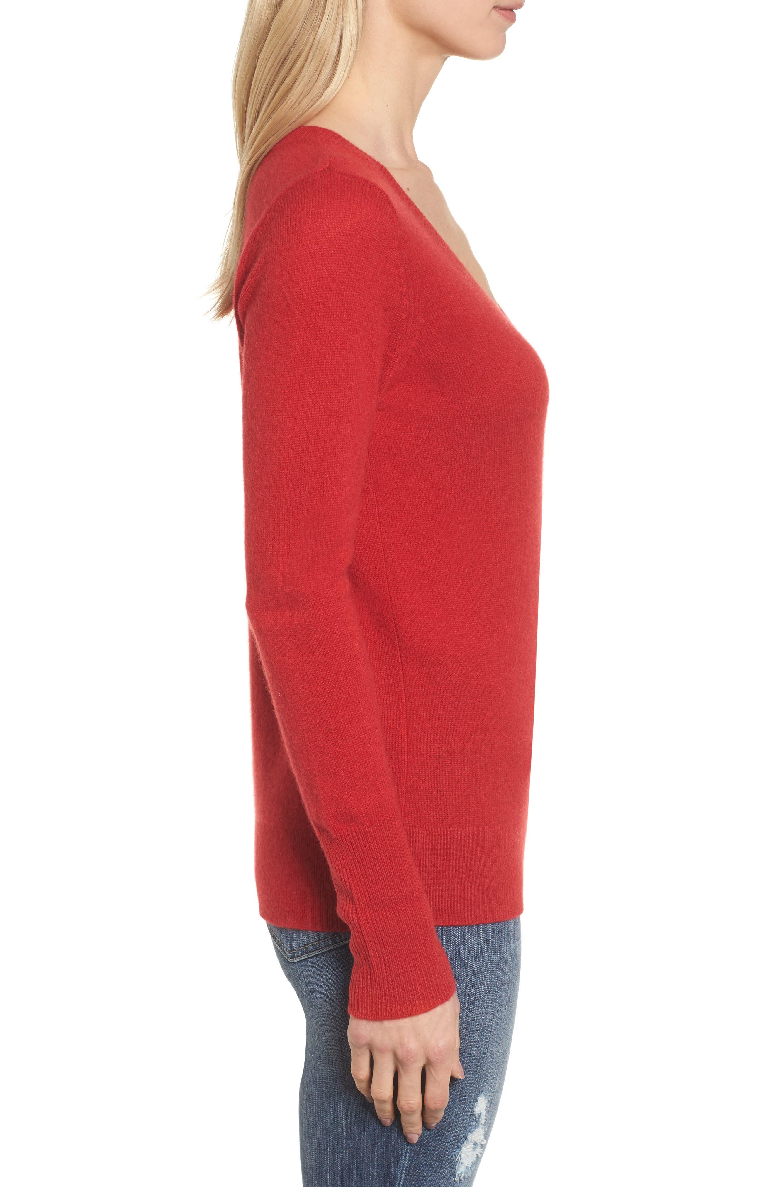 Alternate Image 3  - Halogen® V-Neck Cashmere Sweater (Regular & Petite)