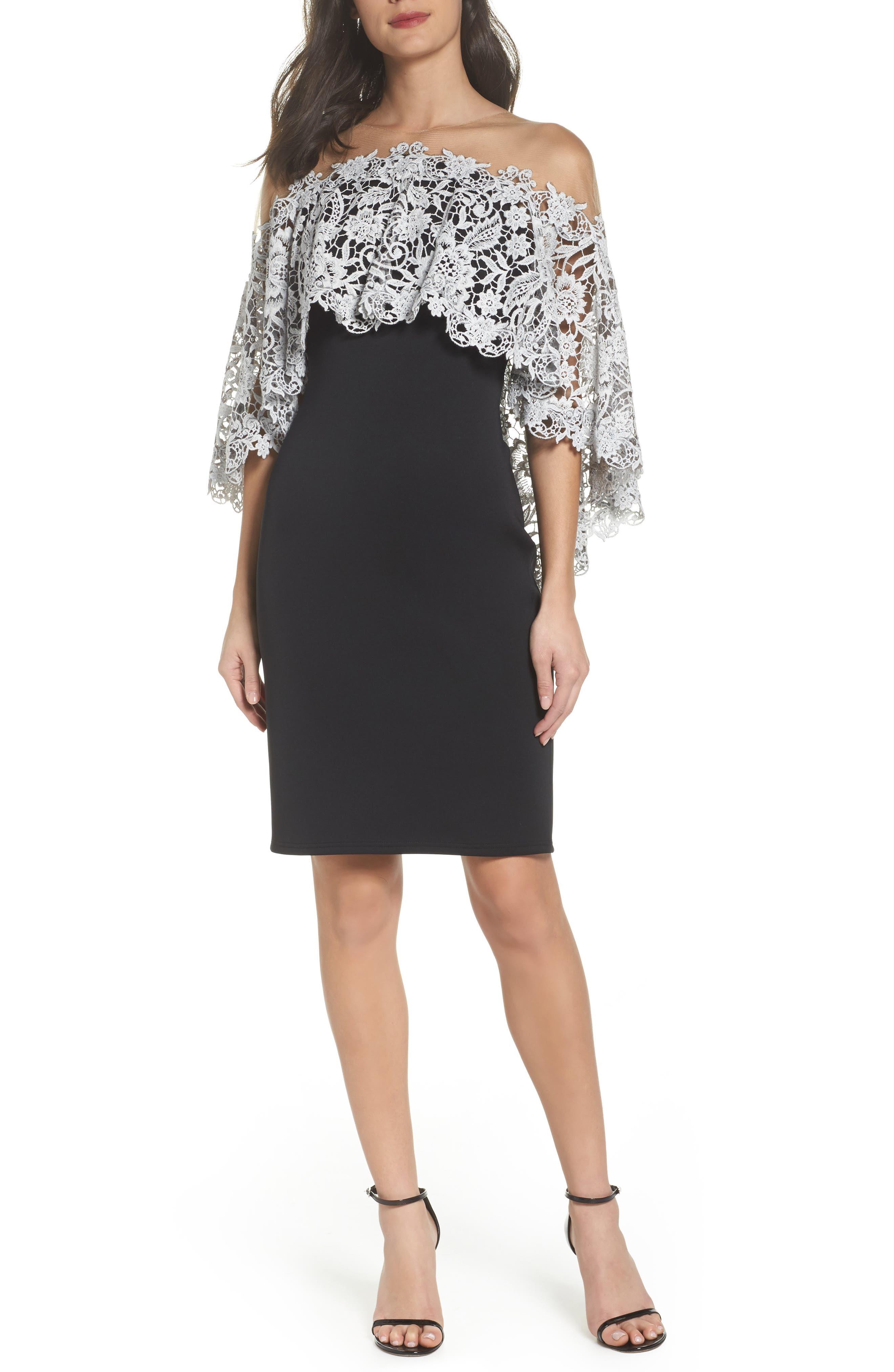Illusion Neck Cape Dress,                         Main,                         color, Black/ Ivory