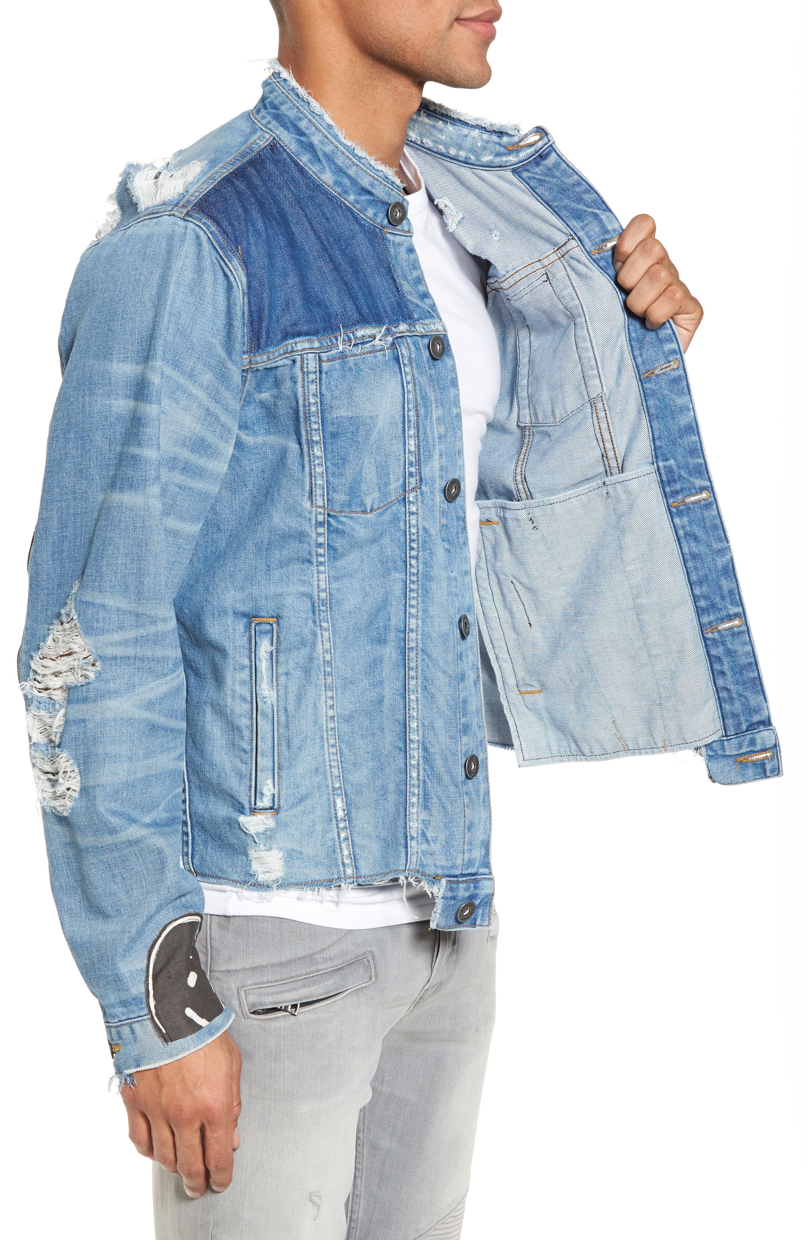 Blaine Crop Denim Jacket,                             Alternate thumbnail 3, color,                             Invert