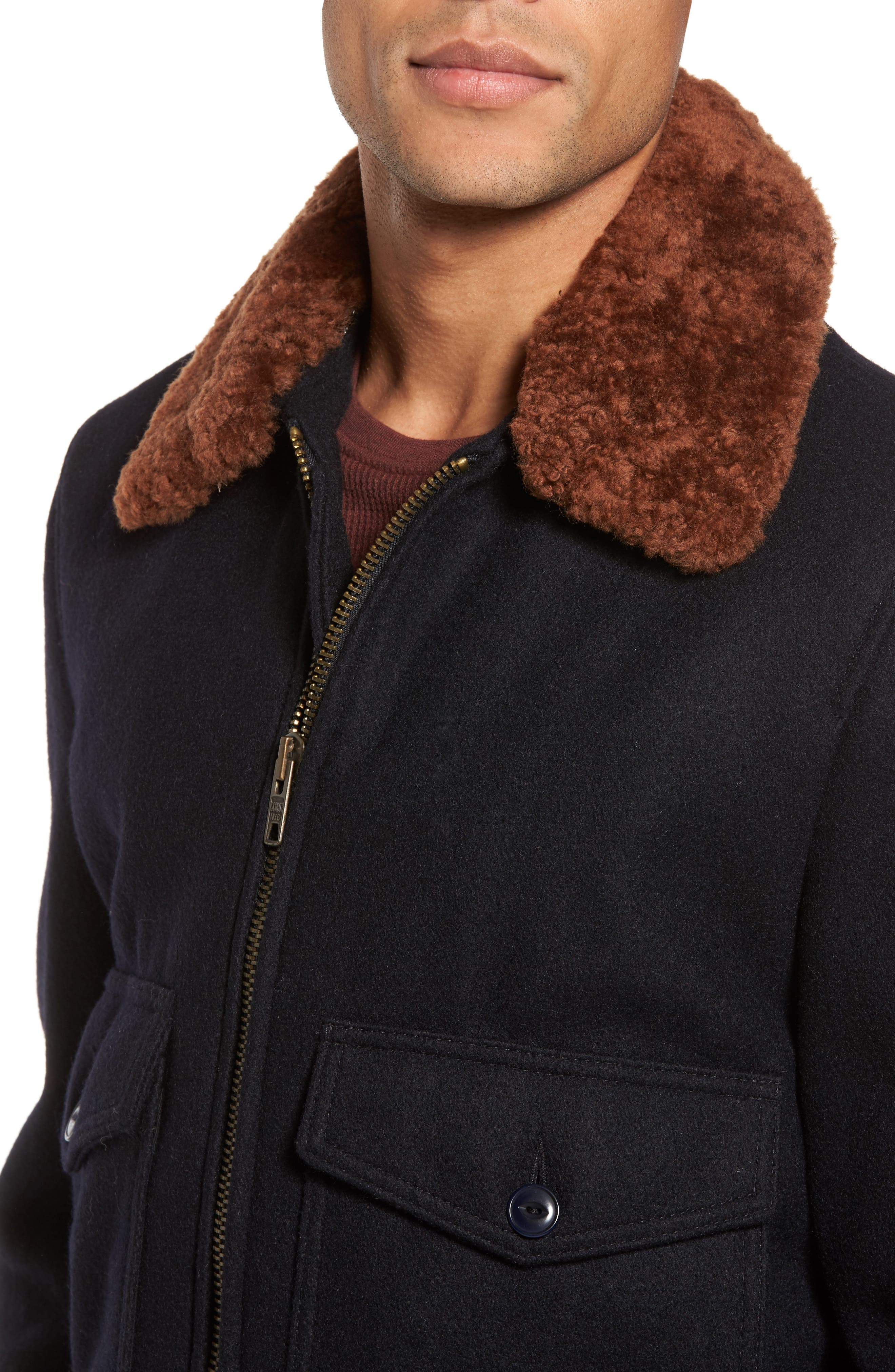 SchottNYC'G-1' Zip Front Bomber with Genuine Shearling Collar,                             Alternate thumbnail 4, color,                             Ny1