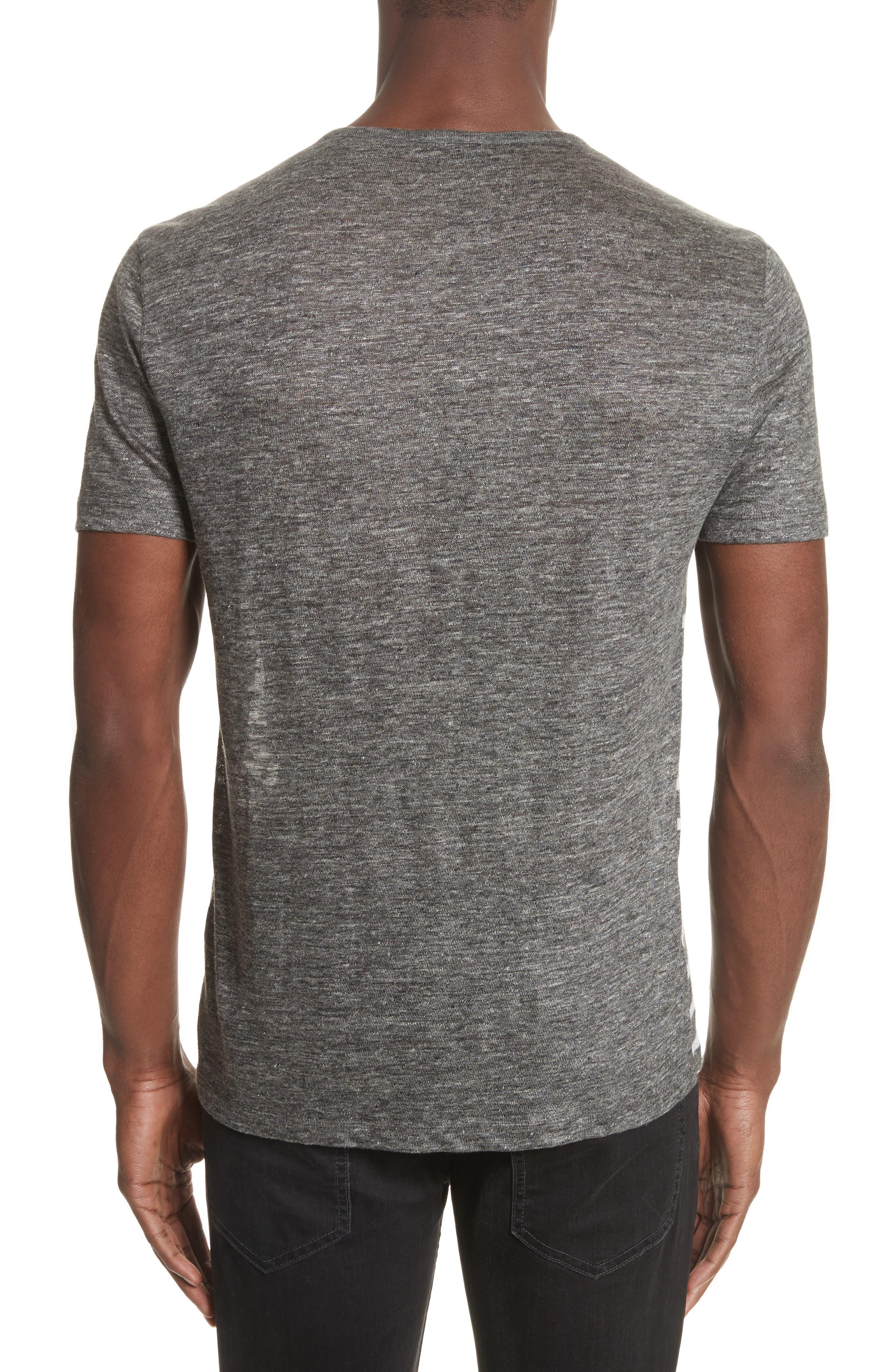 Alternate Image 2  - John Varvatos Collection Stripe Linen Henley T-Shirt