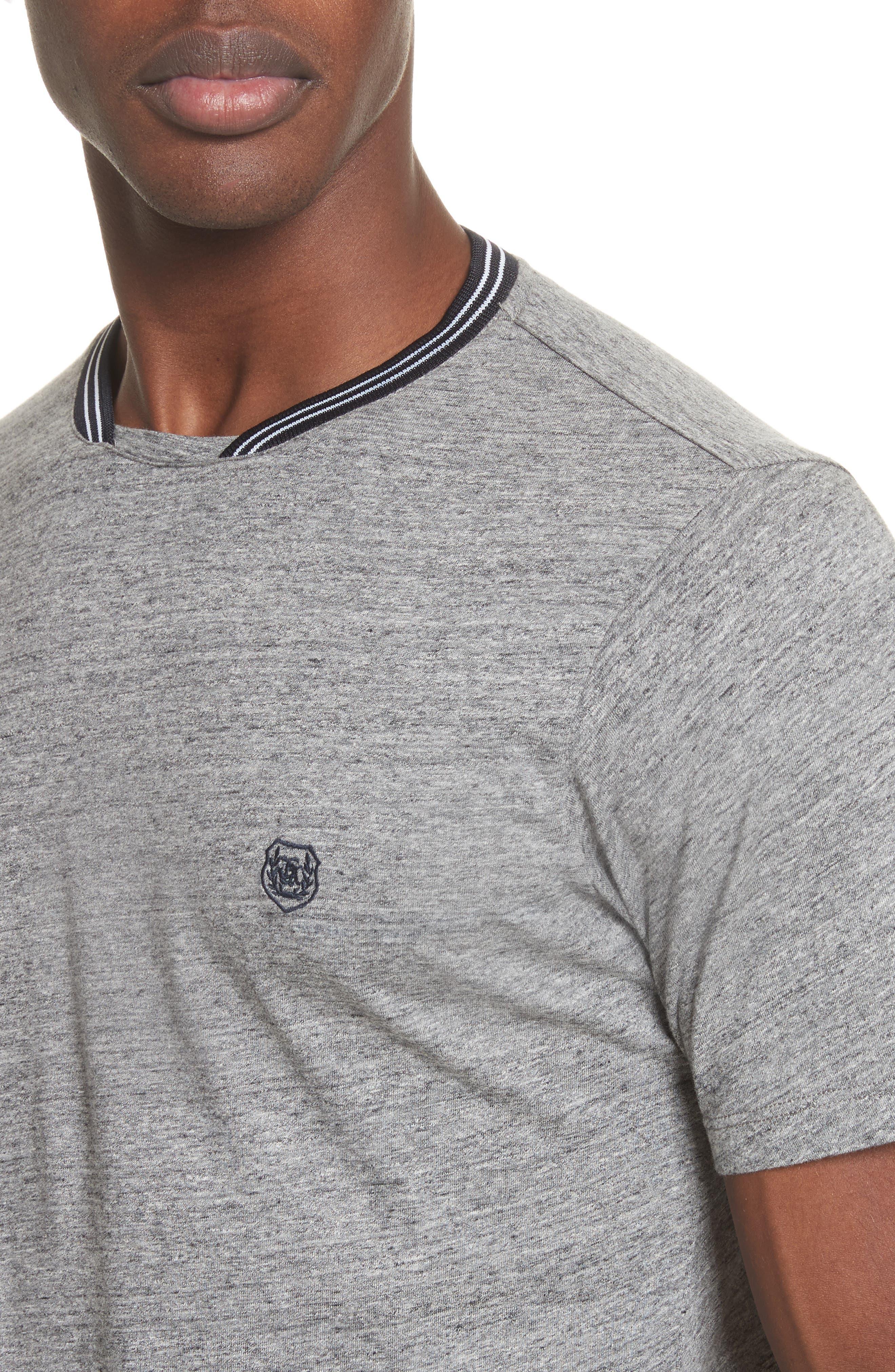 Ribbed Contrast T-Shirt,                             Alternate thumbnail 4, color,                             Grey
