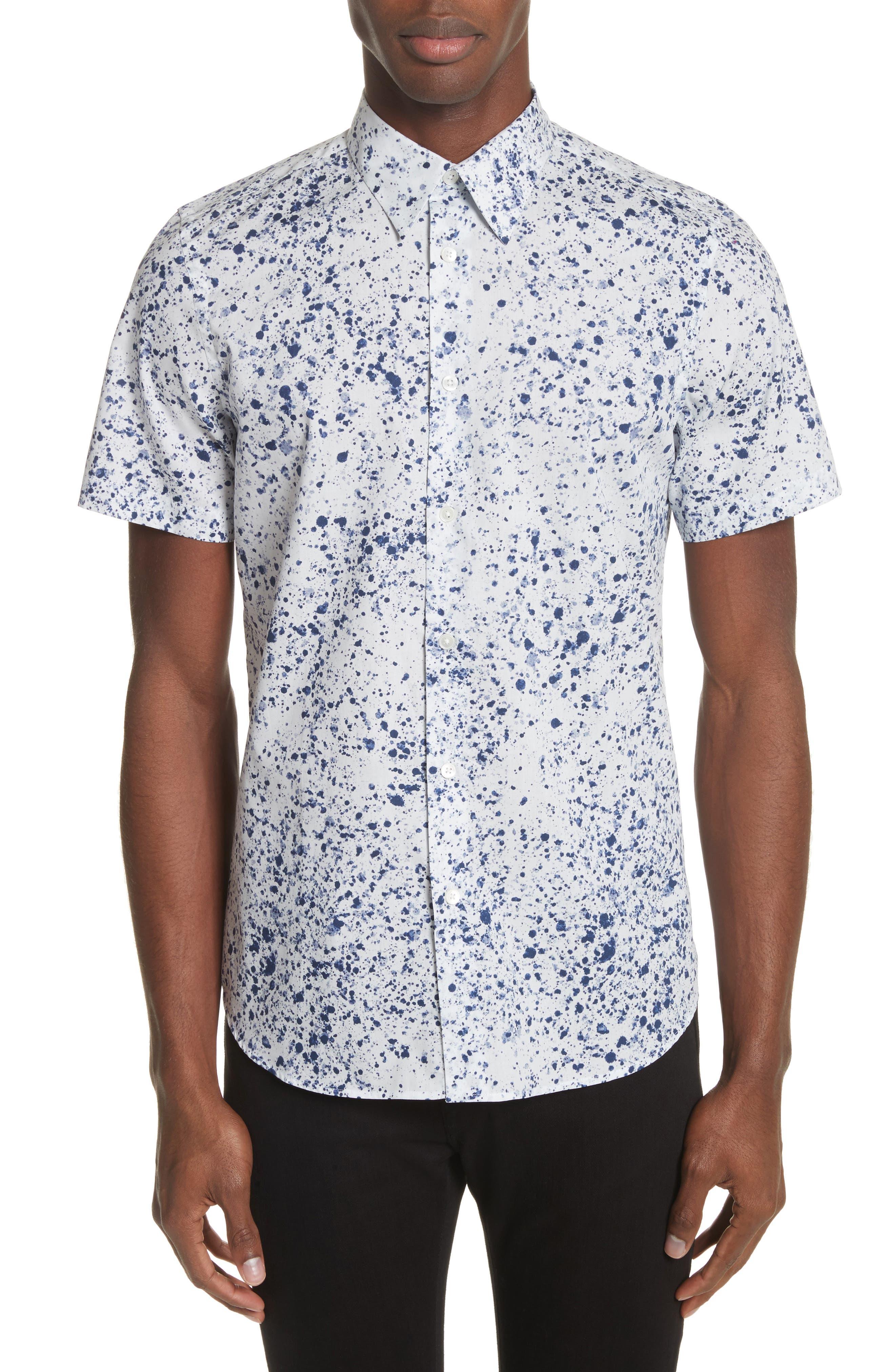 Splatter Print Shirt,                         Main,                         color, White