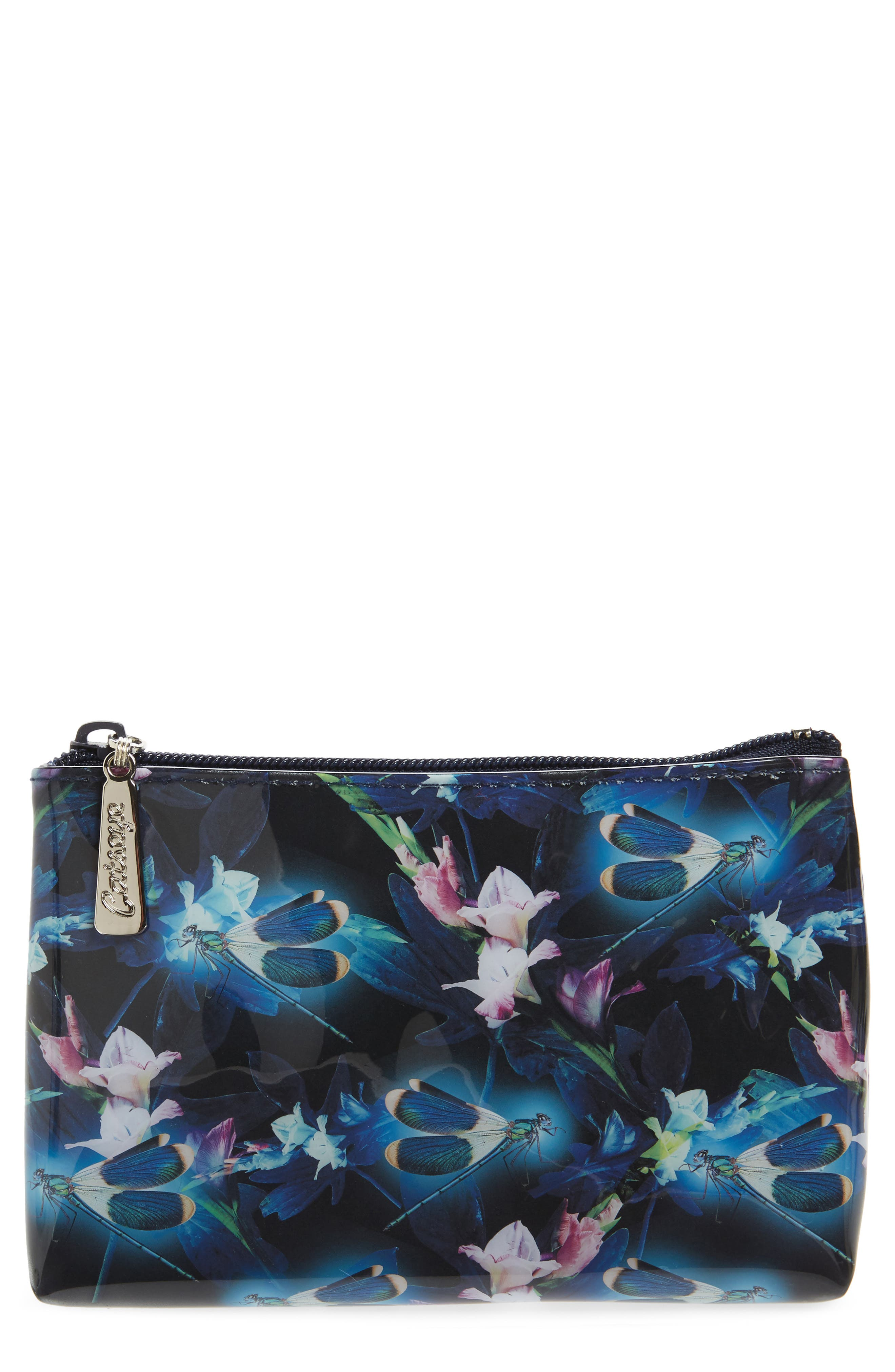 Night Blooms Cosmetics Pouch,                             Main thumbnail 1, color,                             Black
