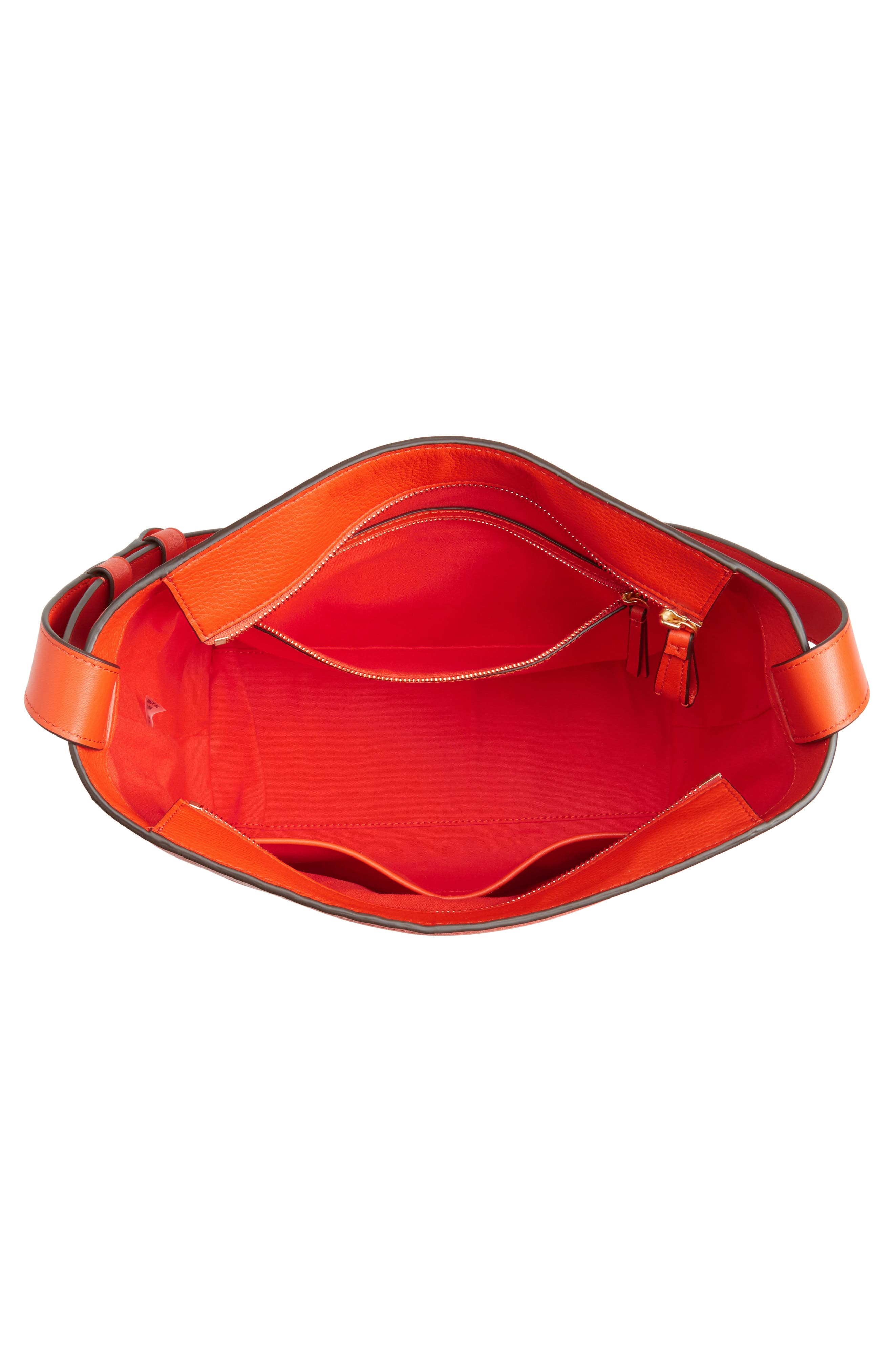 Block-T Pebbled Leather Hobo,                             Alternate thumbnail 4, color,                             Spicy Orange