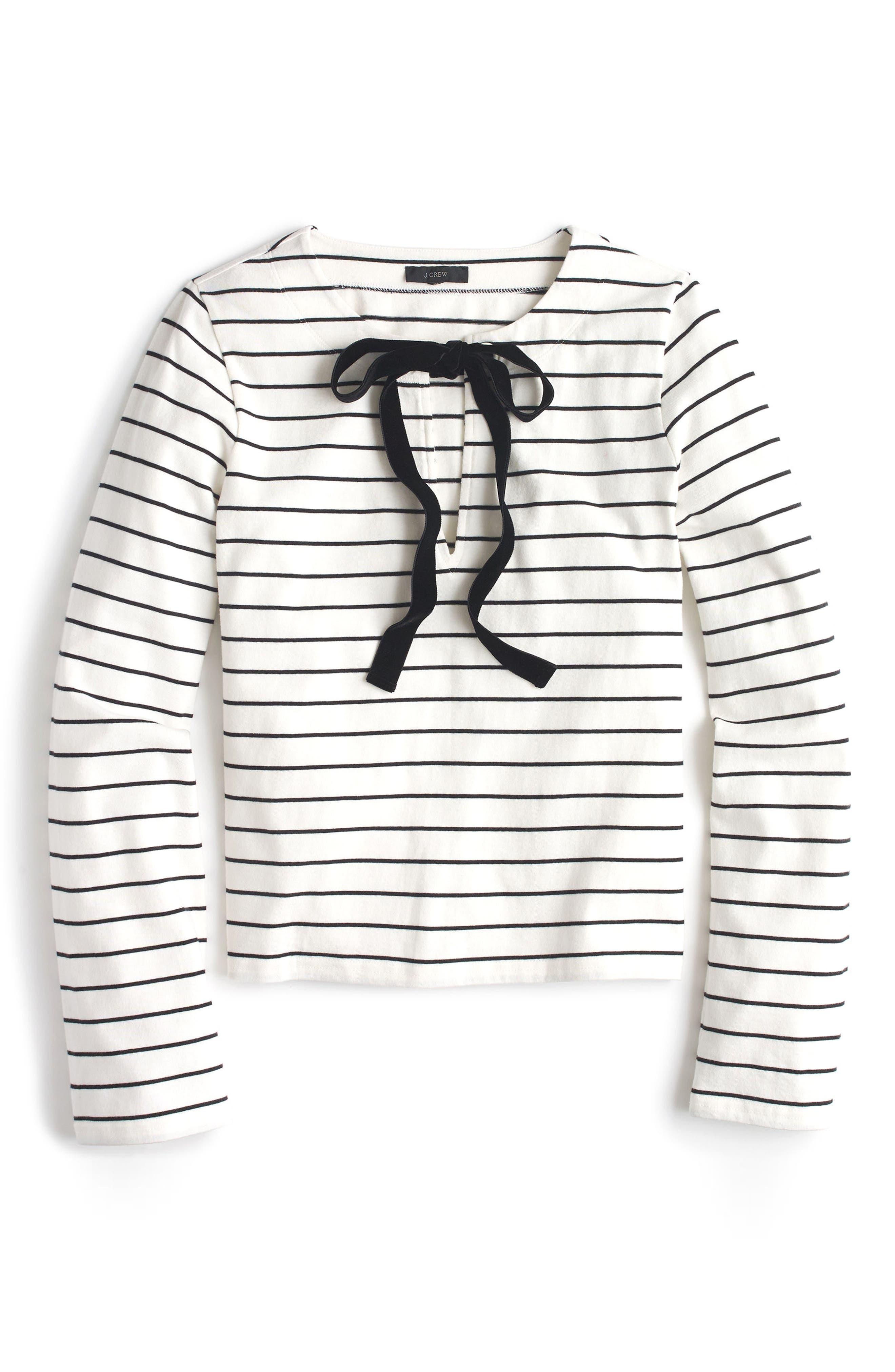 Velvet Tie-Front Stripe Top,                             Main thumbnail 1, color,                             Ivory Black