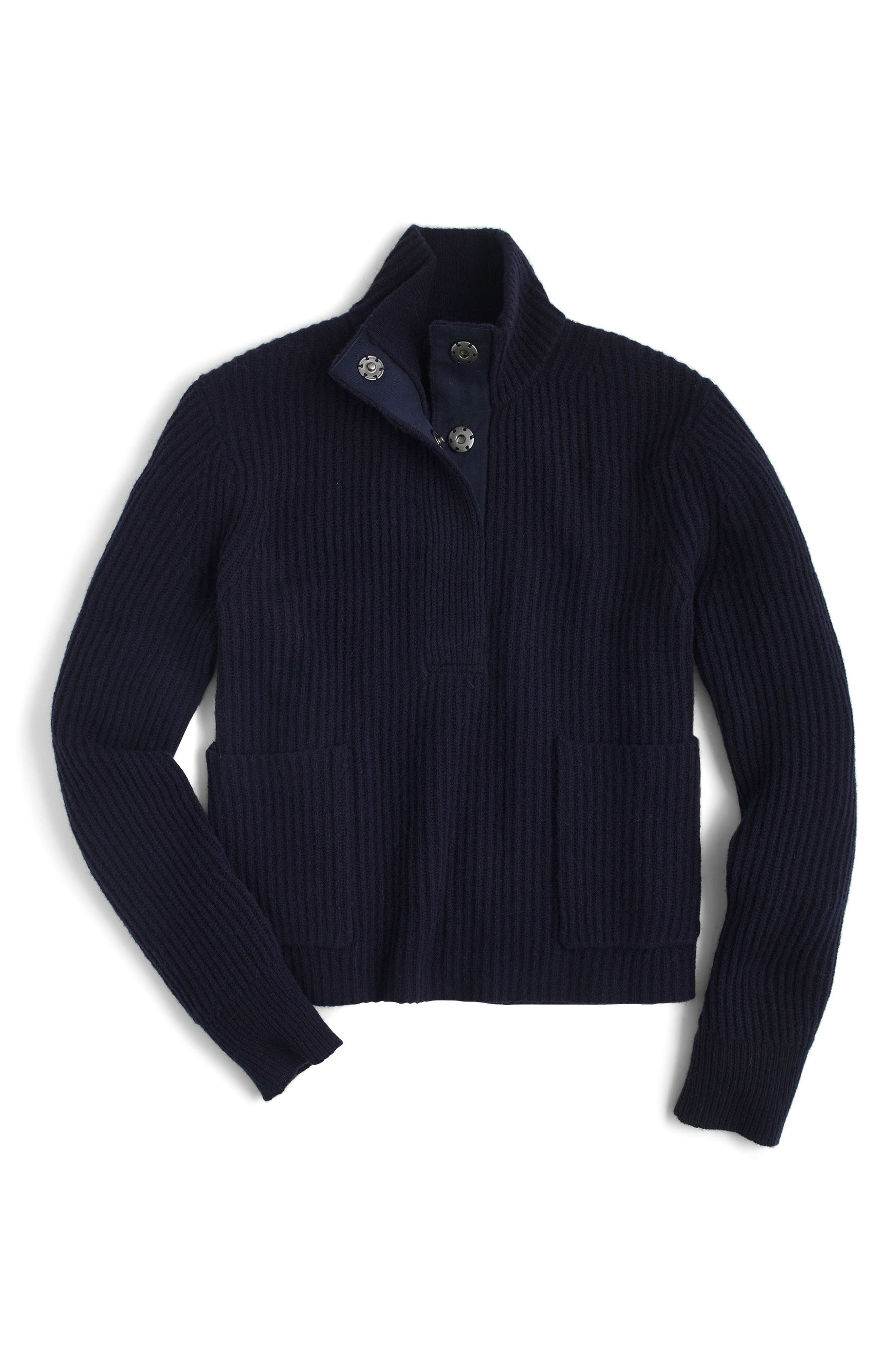 J.Crew Kay Lambswool Pullover Sweater,                             Alternate thumbnail 4, color,                             Navy