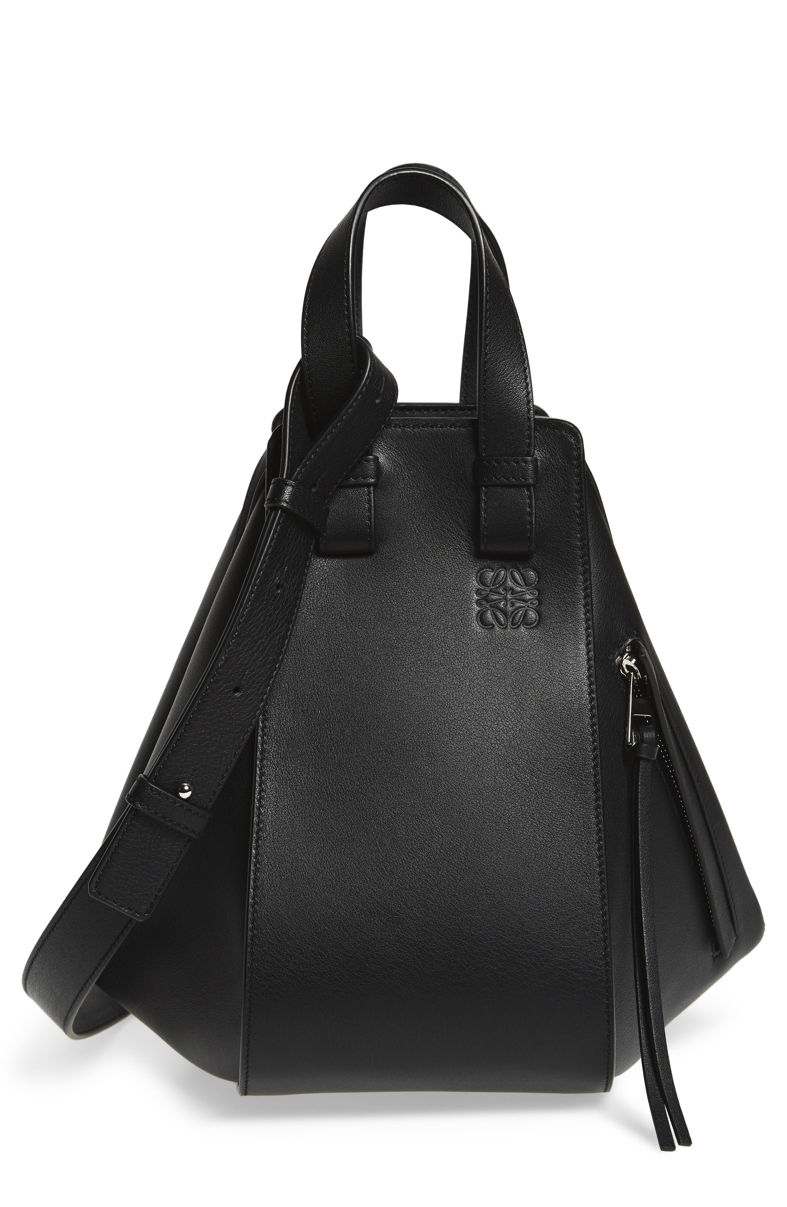 Loewe Hammock Small Textured-Leather Shoulder Bag In Black