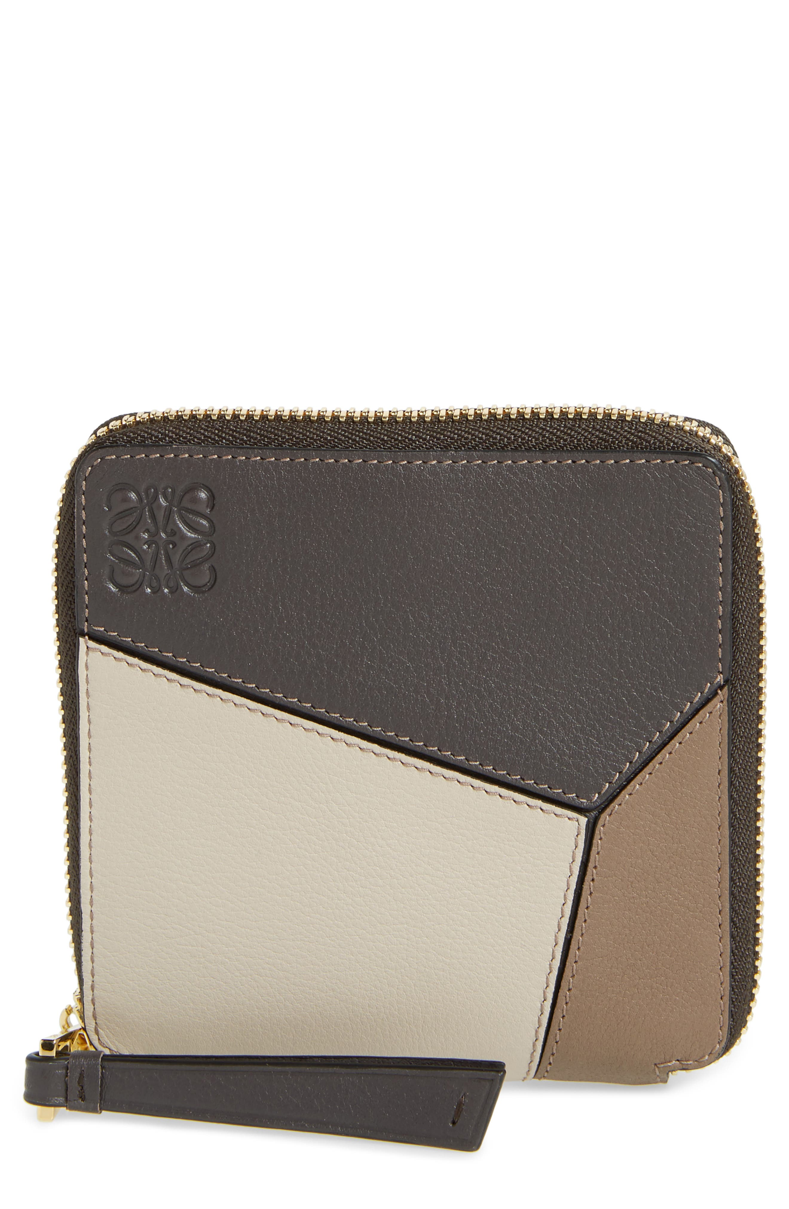 Denim Puzzle Colorblock Leather French Wallet,                             Main thumbnail 1, color,                             Dark Taupe Multitone