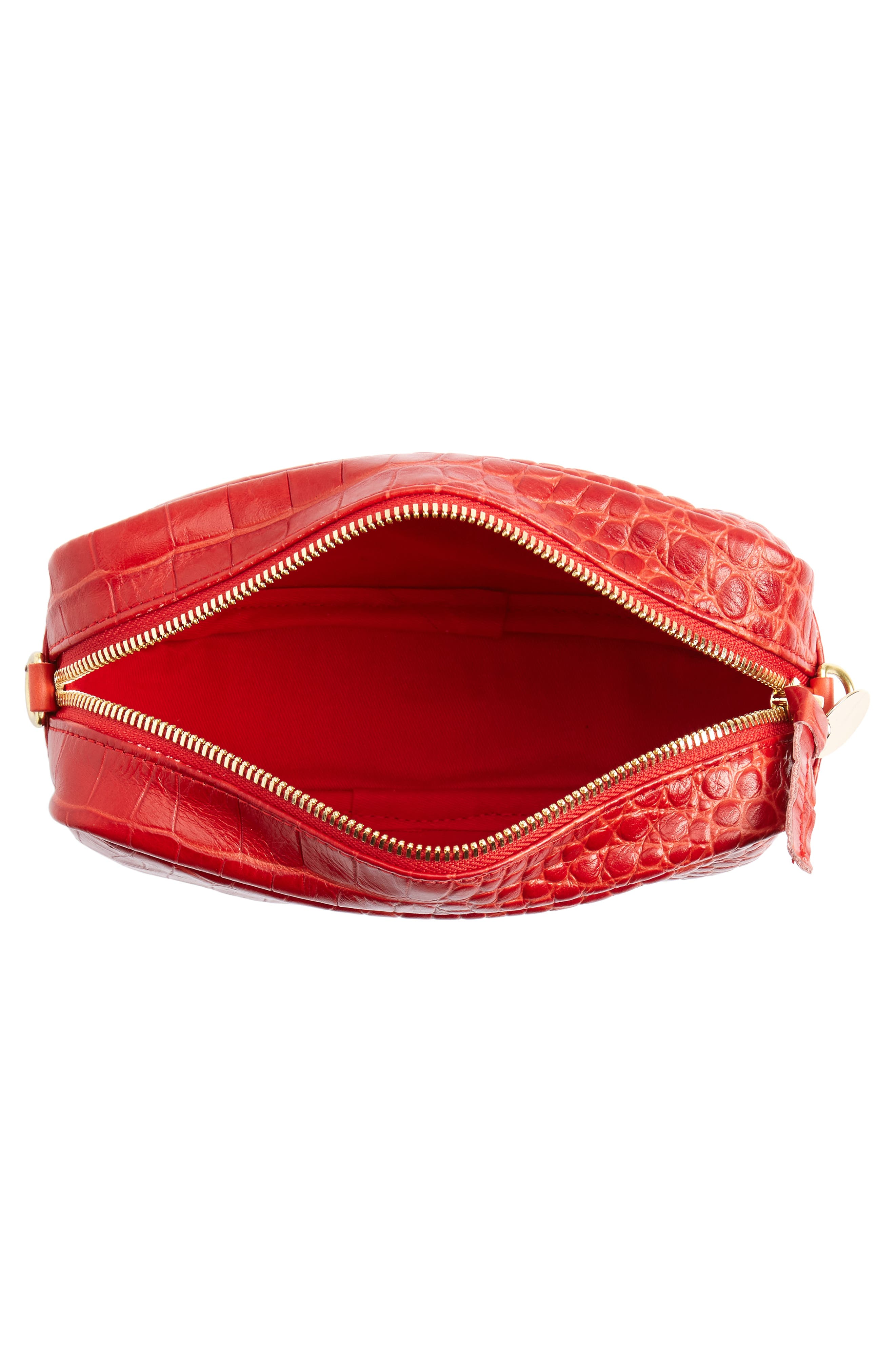 Midi Sac Supreme Croc Embossed Leather Crossbody Bag,                             Alternate thumbnail 4, color,                             Red Croco