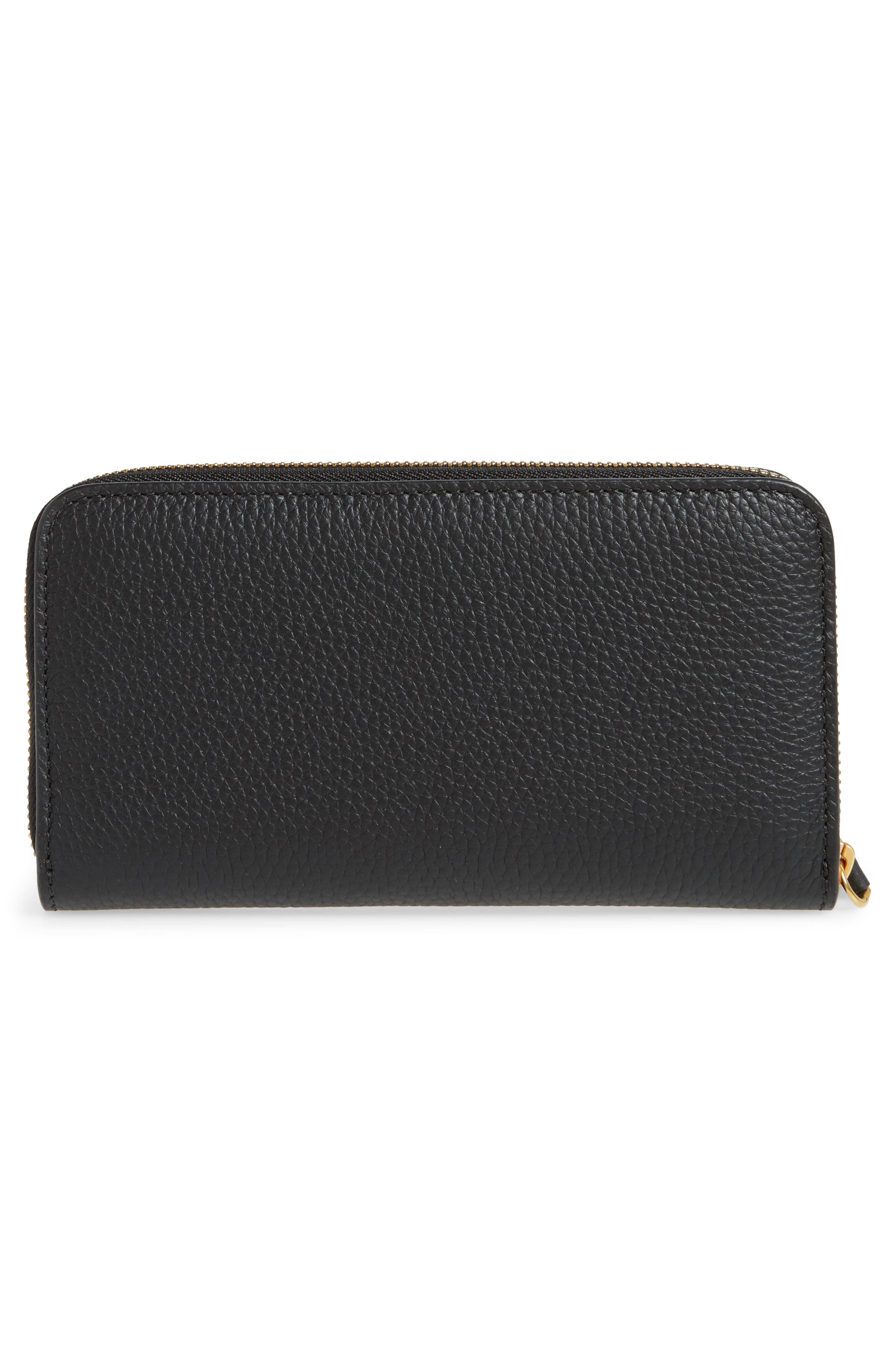 Leather Zip-Around Wallet,                             Alternate thumbnail 4, color,                             Black