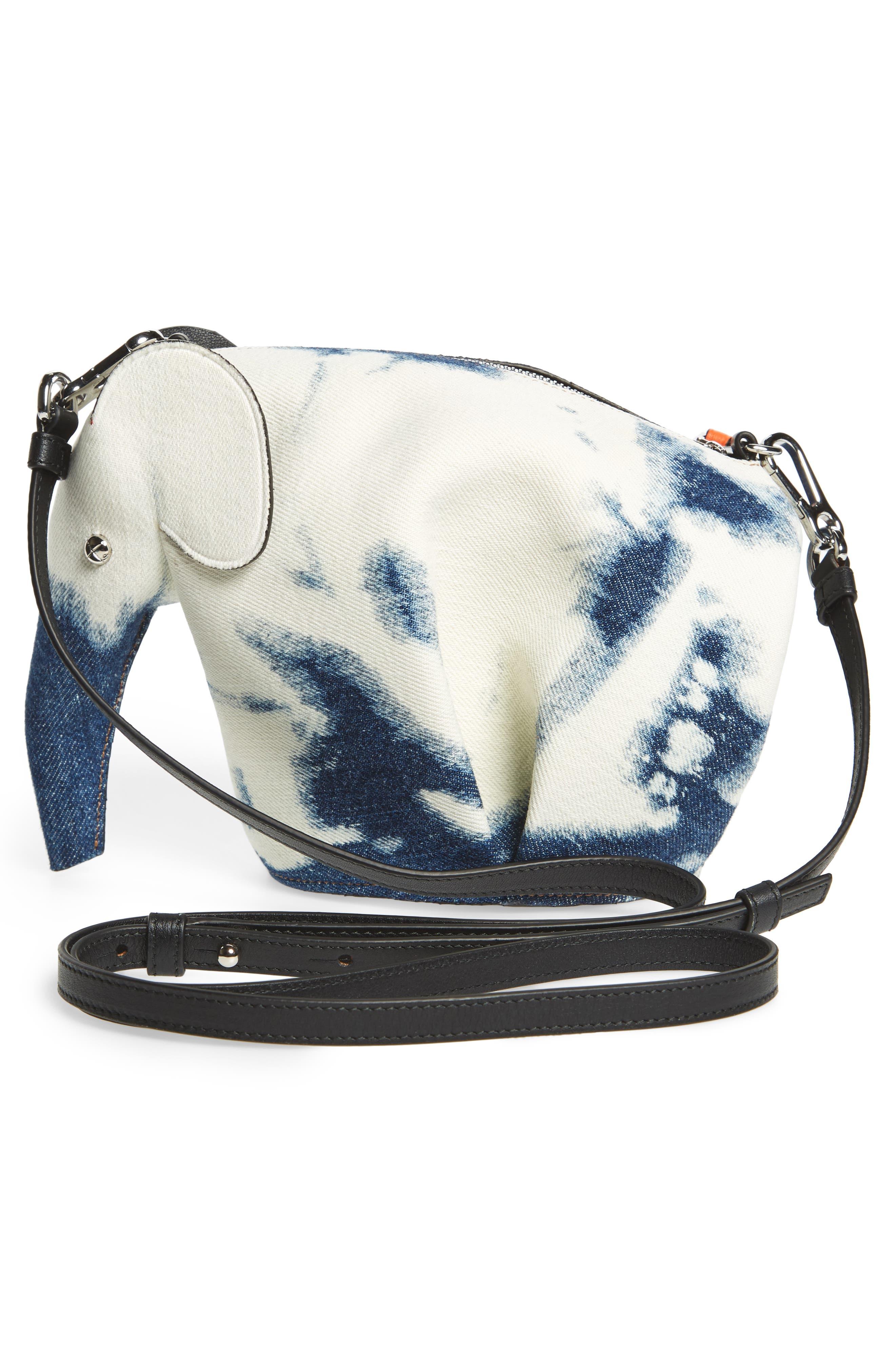 Denim Elephant Crossbody Bag,                             Alternate thumbnail 4, color,                             Blue Denim/ White/ Black