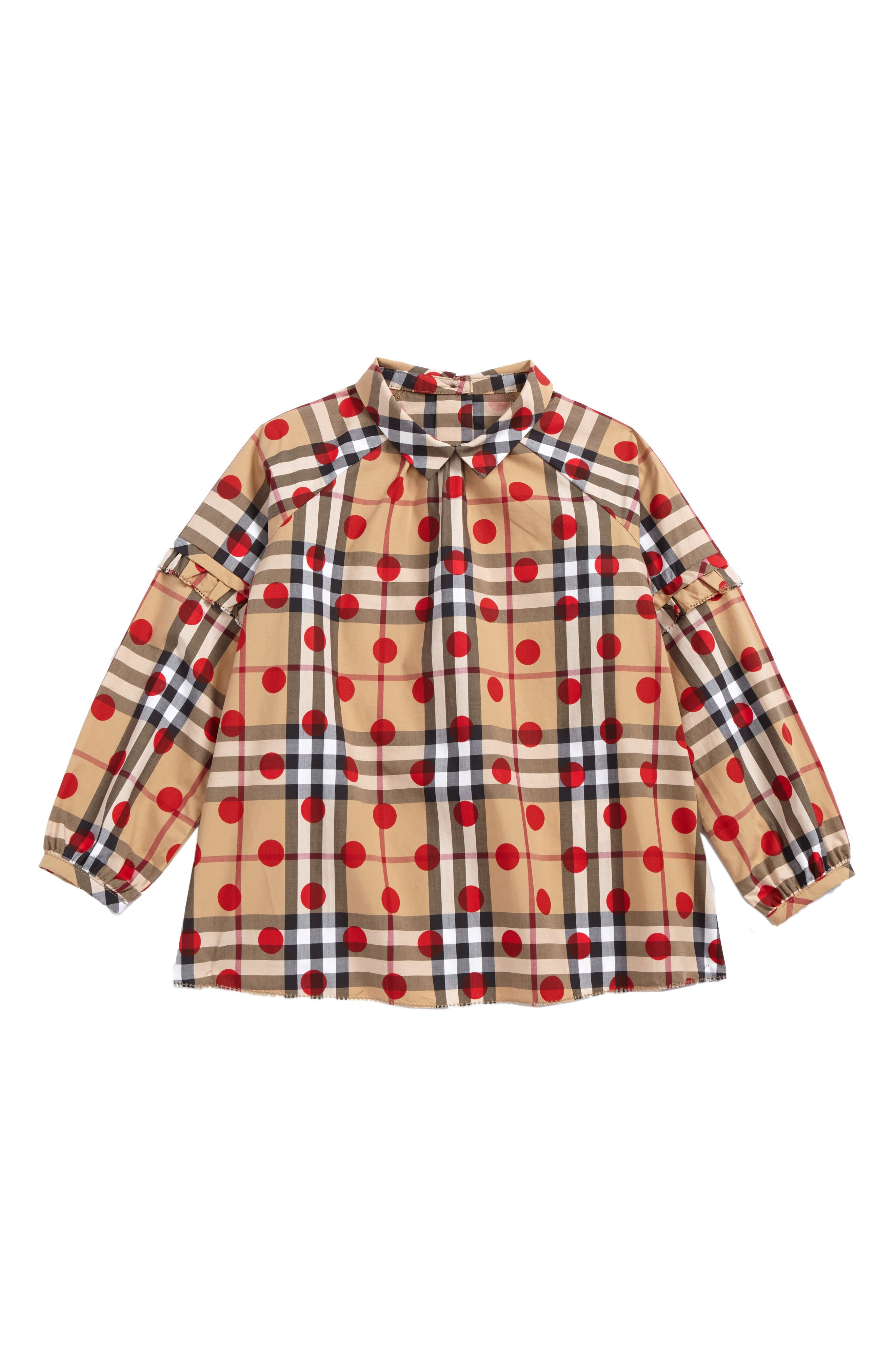 Mini Haleena Polka Dot & Check Print Top,                         Main,                         color, Parade Red