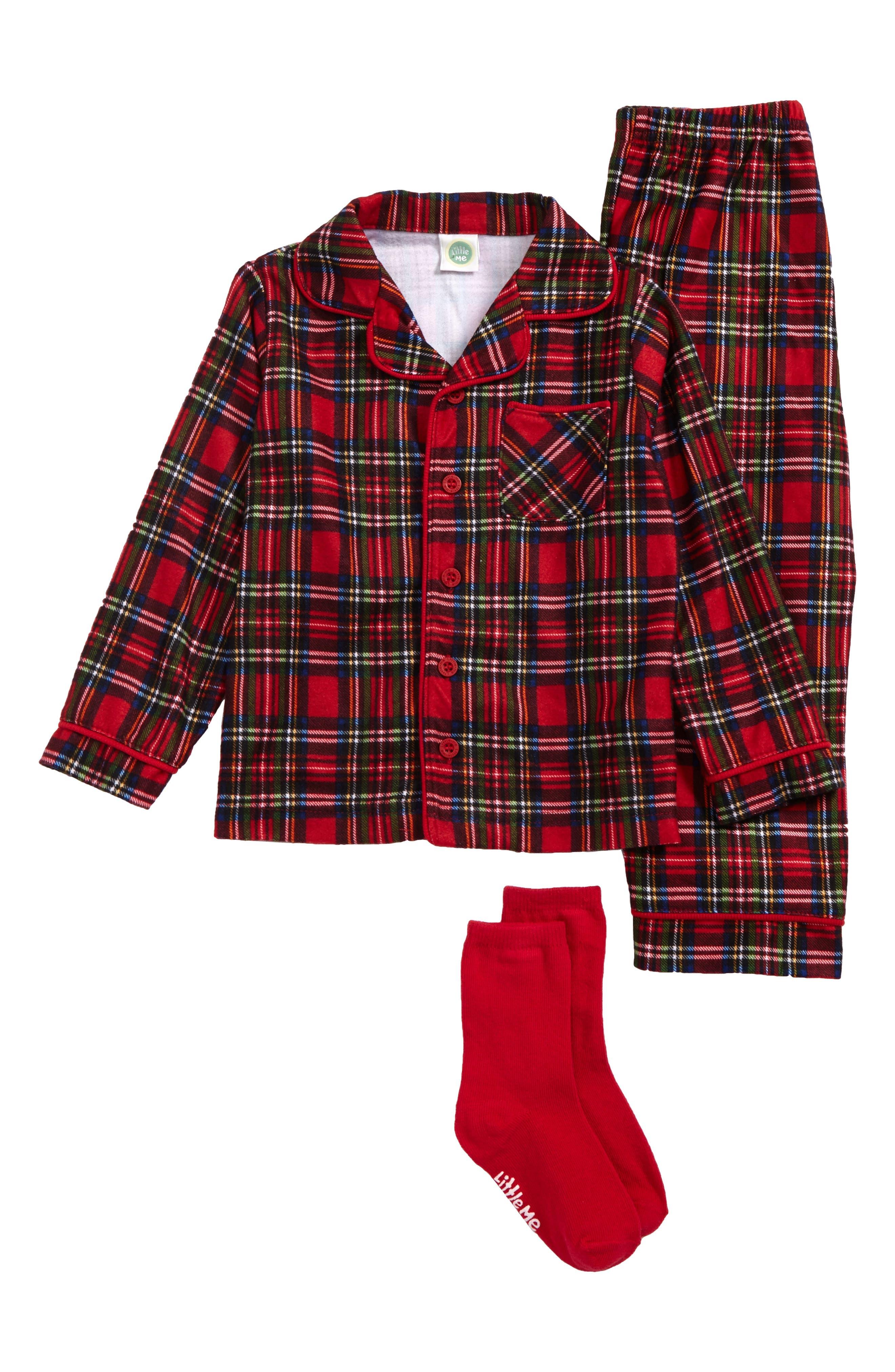 Two-Piece Pajamas & Socks Set,                         Main,                         color, Red