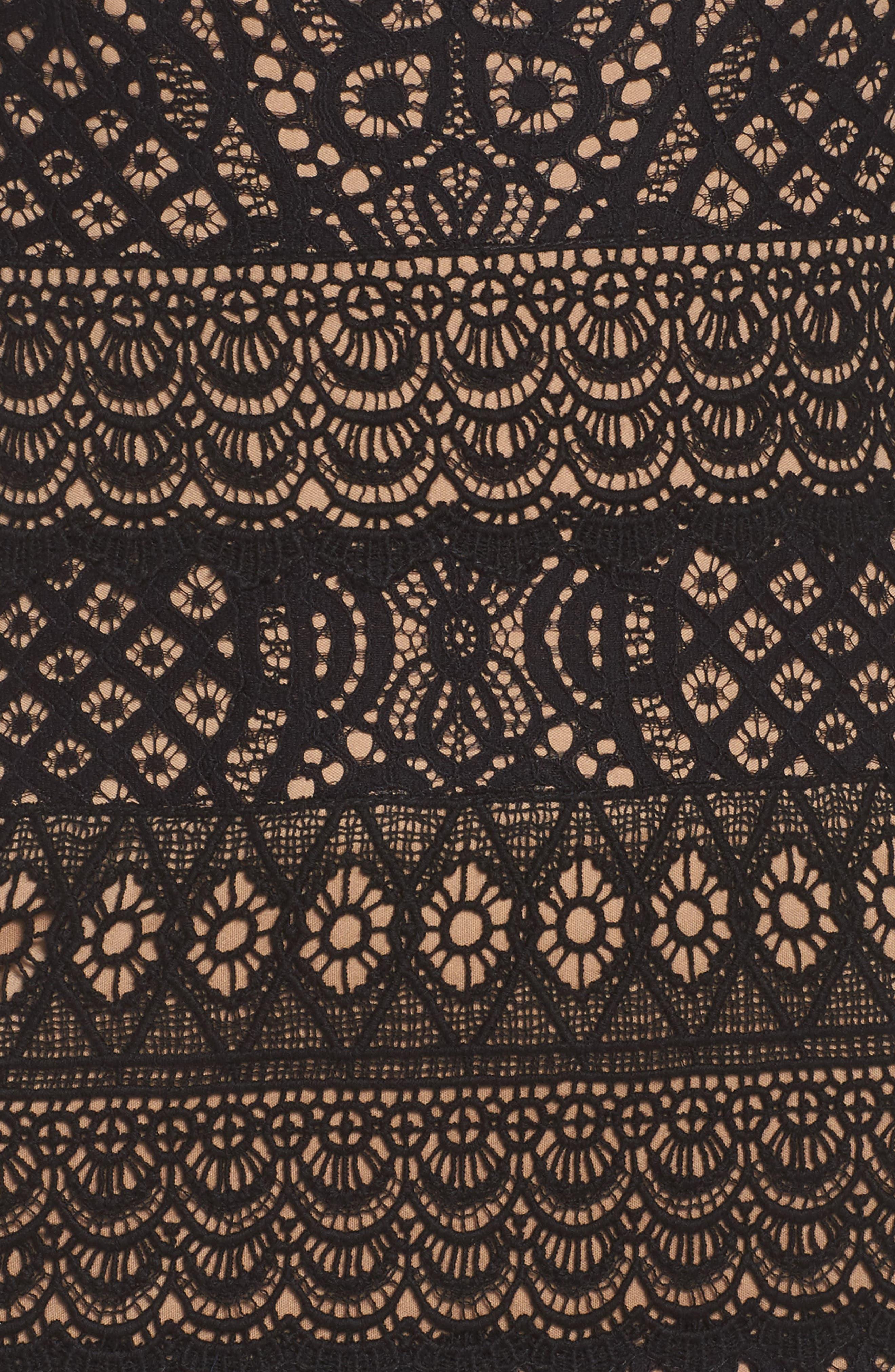 Lace Cap Sleeve Dress,                             Alternate thumbnail 5, color,                             Black / Nude