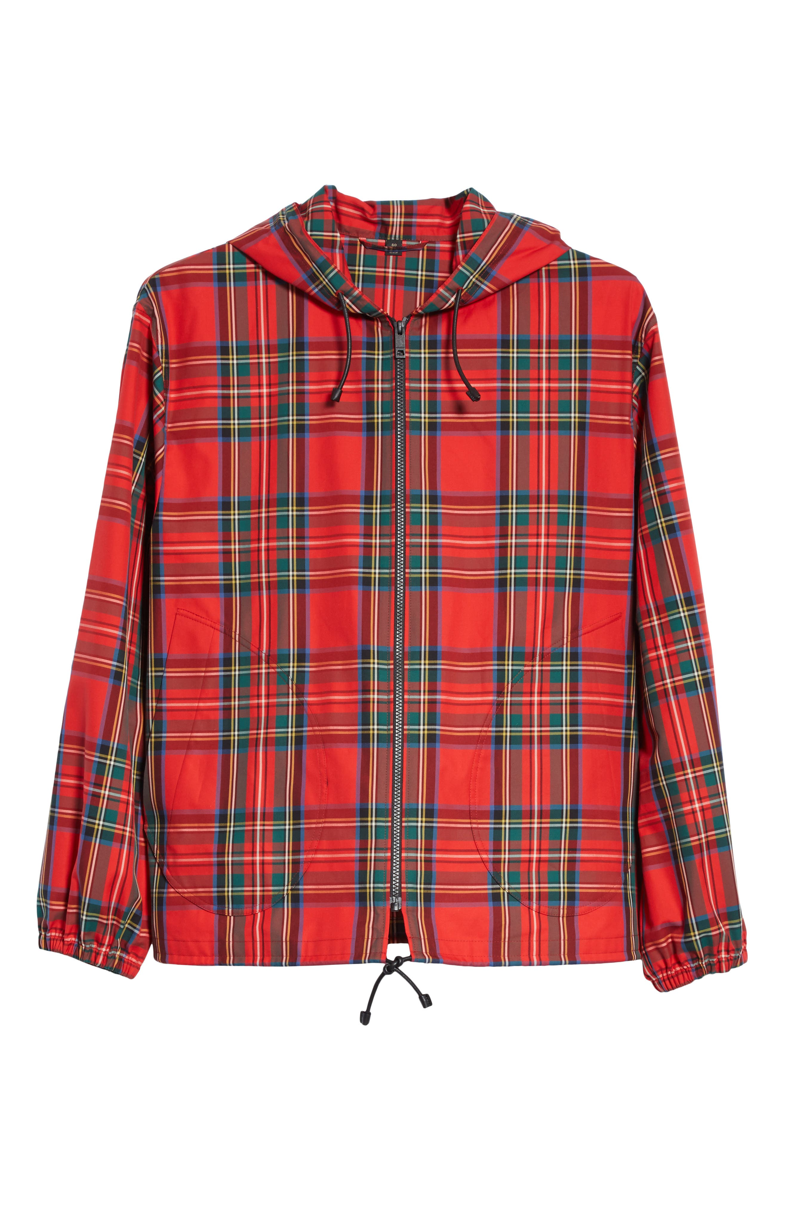 Tartan Twill Hooded Jacket,                             Alternate thumbnail 6, color,                             Bright Red