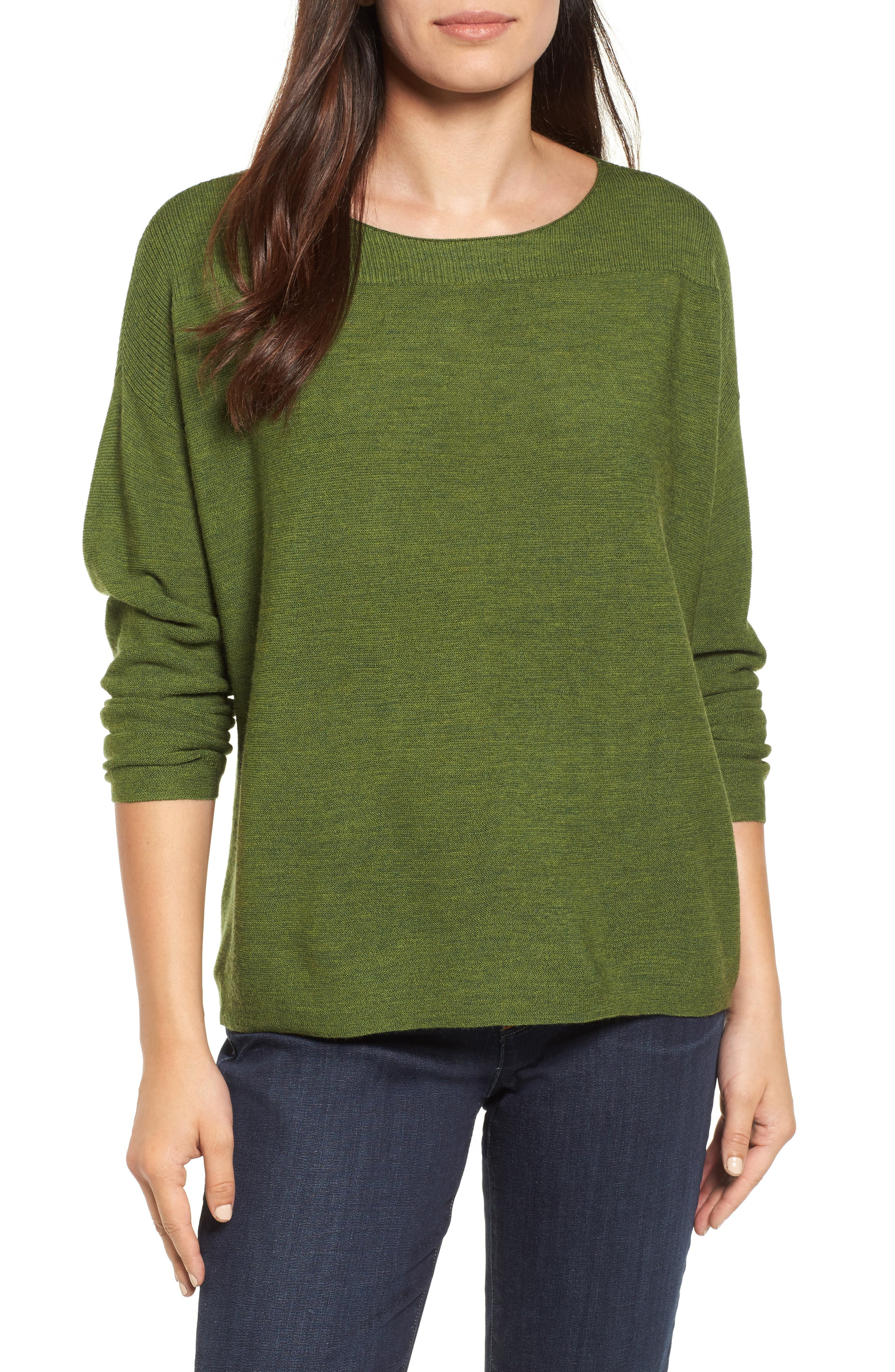 Main Image - Eileen Fisher Mix Stitch Merino Bateau Neck Sweater (Regular & Petite)