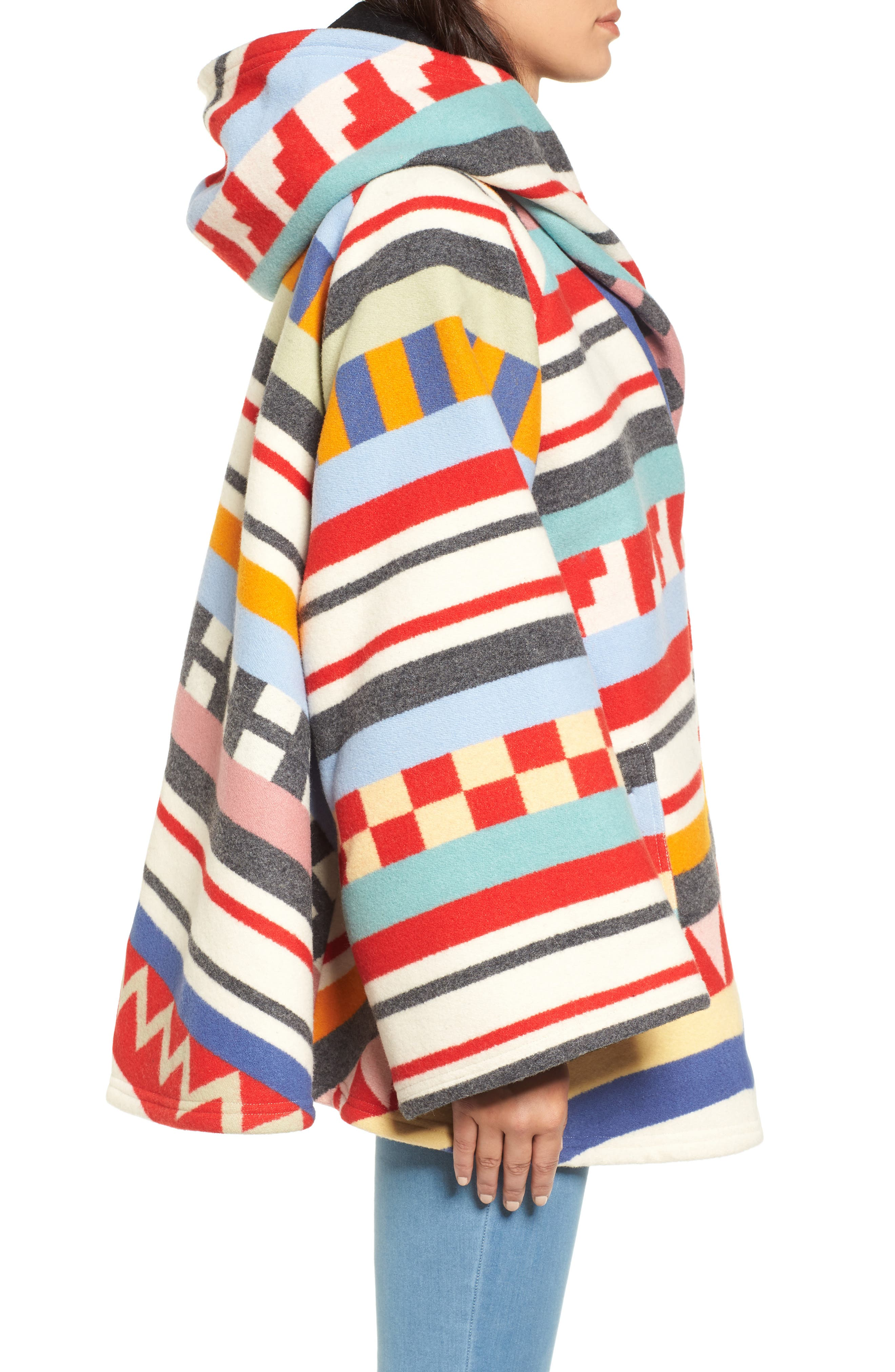 x Pendleton Wool Blend Hooded Cape,                             Alternate thumbnail 3, color,                             White Multi