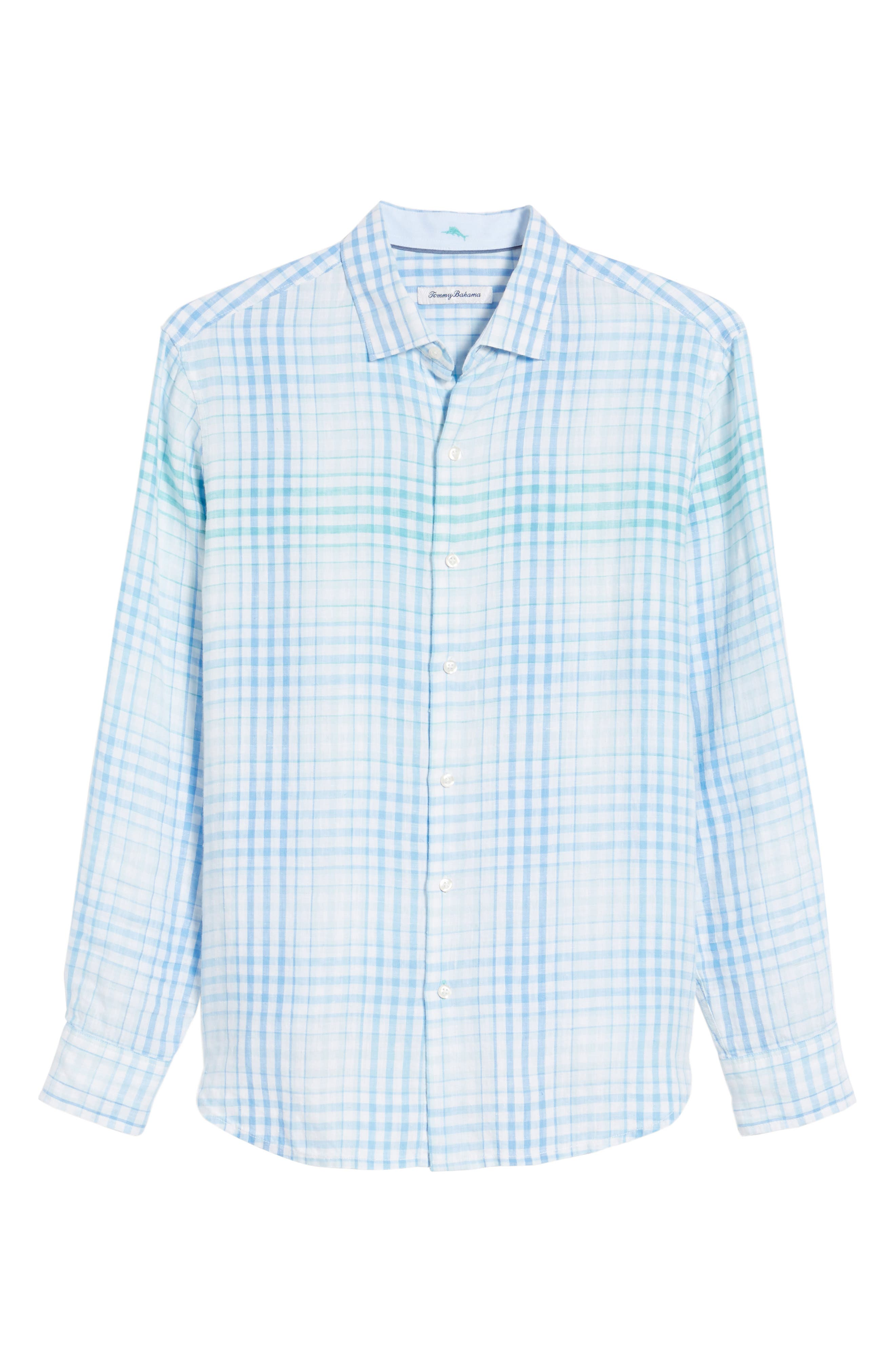 Malahina Plaid Linen Sport Shirt,                             Alternate thumbnail 6, color,                             Blue Canal