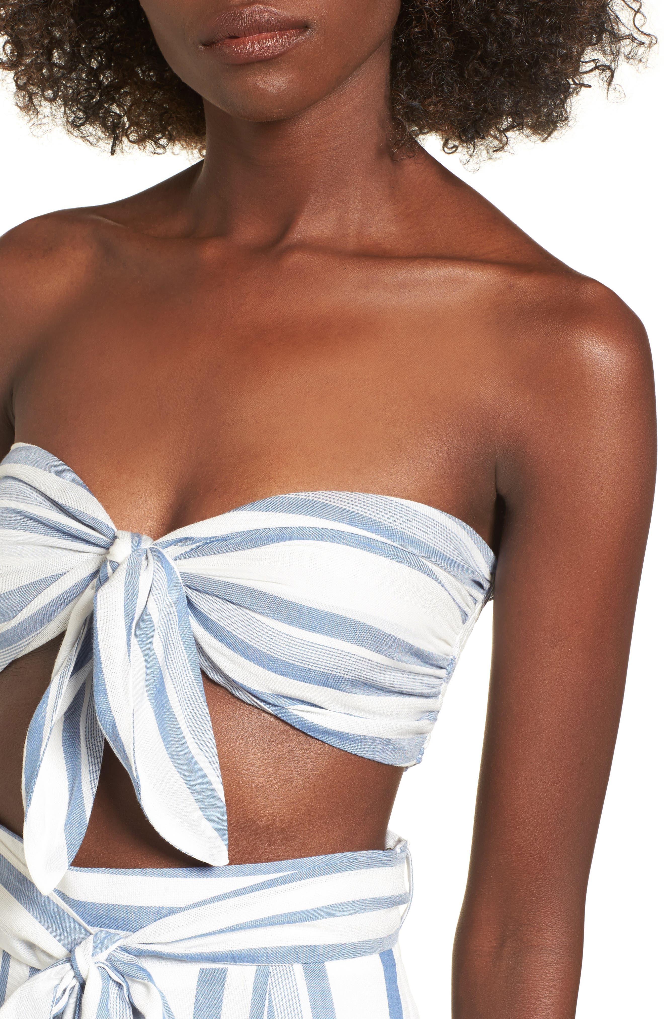 Marina Bandeau Top,                             Alternate thumbnail 5, color,                             White/ Blue