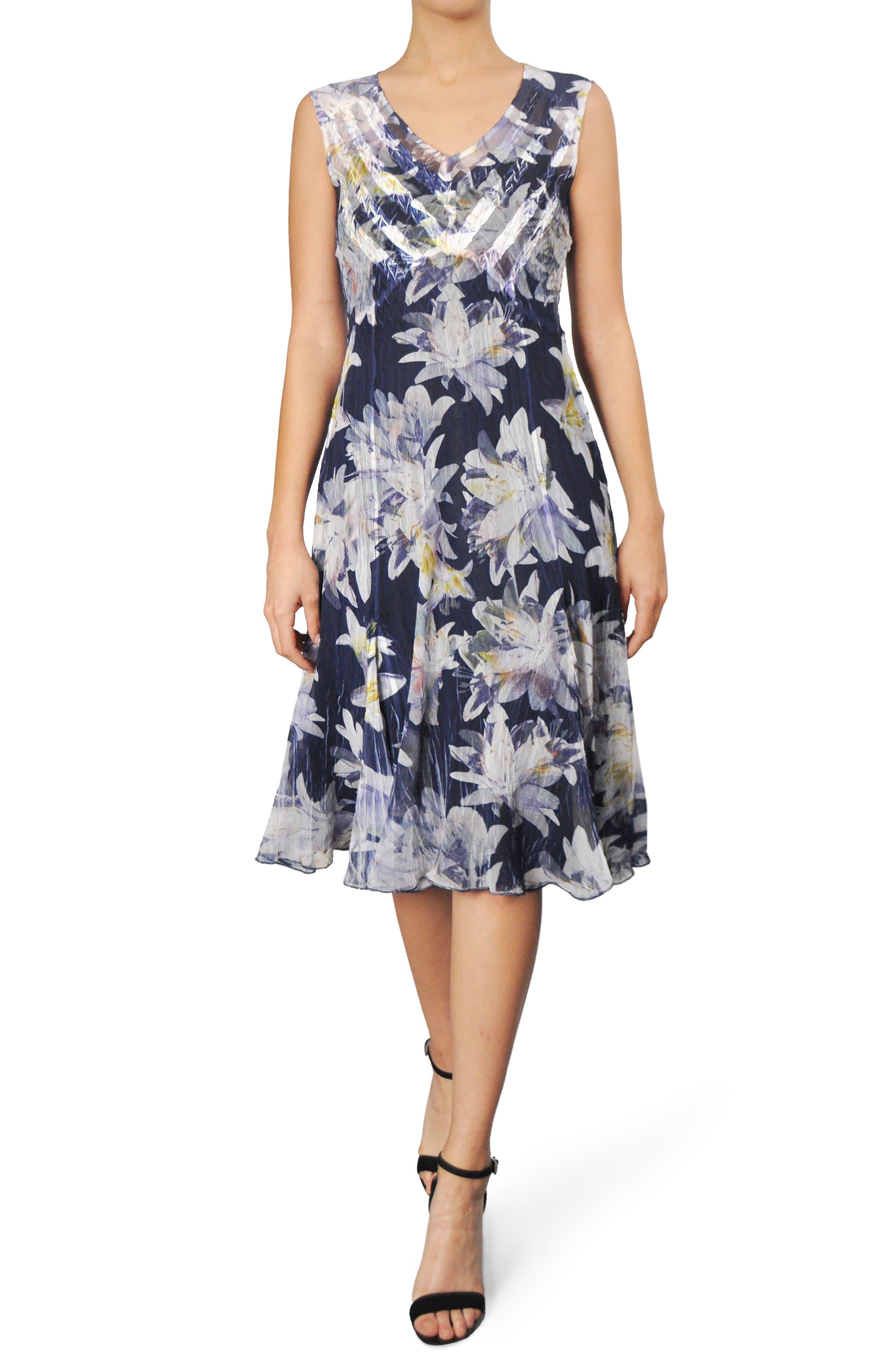 Alternate Image 1 Selected - Komarov Floral Chiffon A-Line Dress (Regular & Petite)