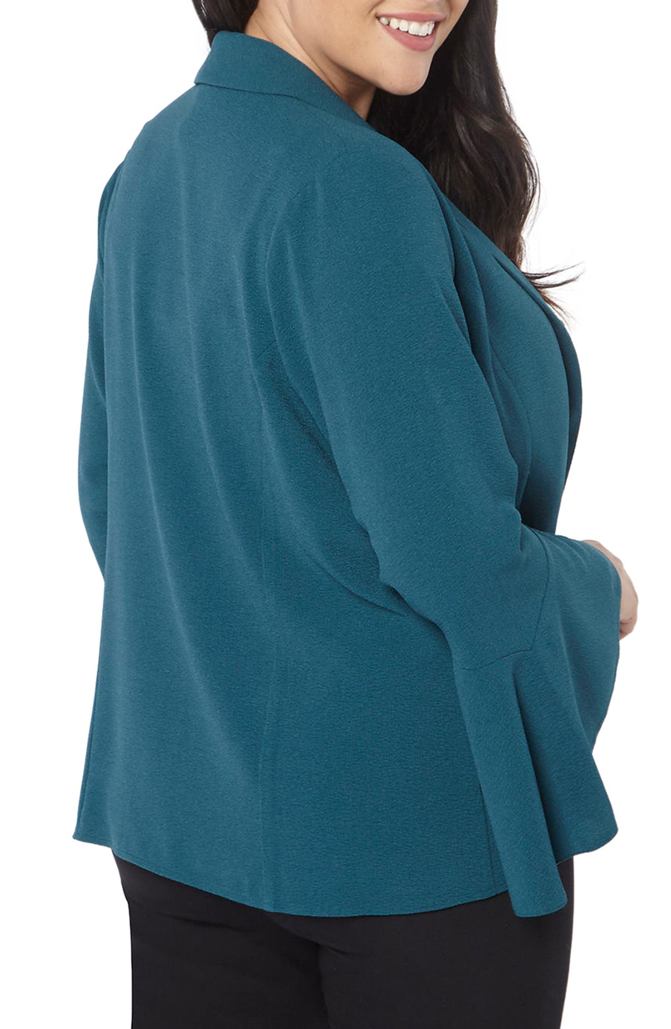 Bell Sleeve Crepe Jacket,                             Alternate thumbnail 3, color,                             Teal