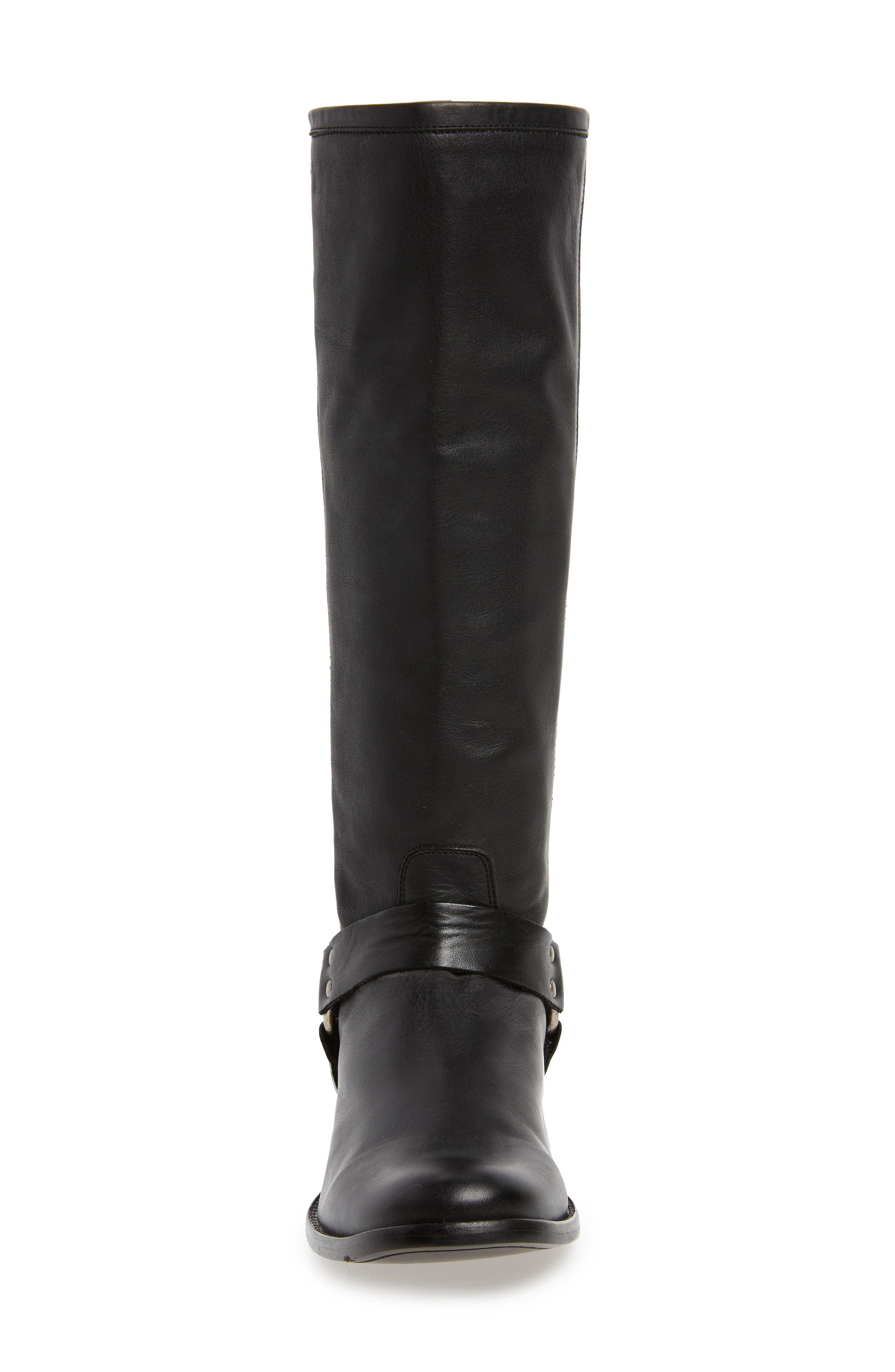 Phillip Harness Tall Boot,                             Alternate thumbnail 4, color,                             Black Leather